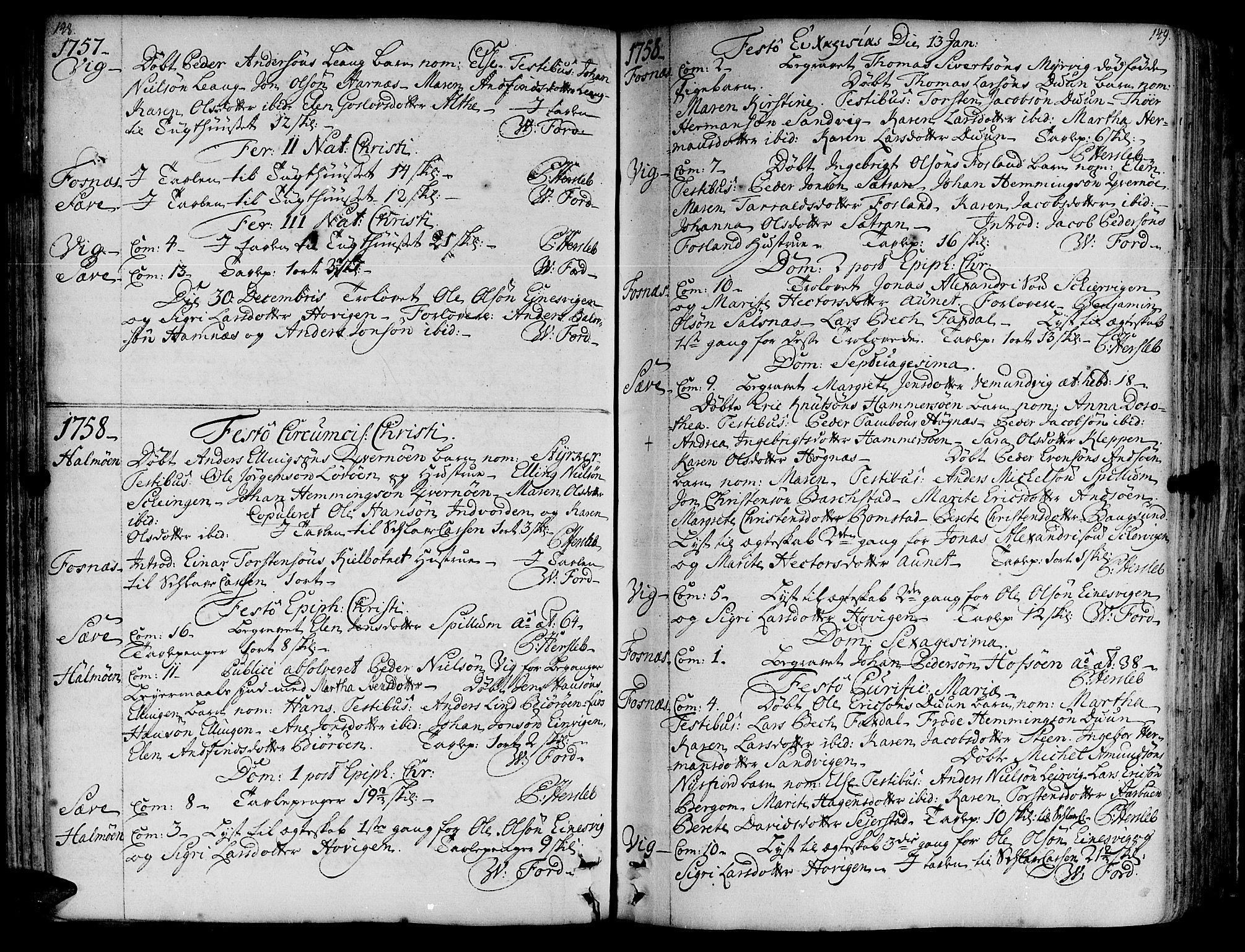 SAT, Ministerialprotokoller, klokkerbøker og fødselsregistre - Nord-Trøndelag, 773/L0607: Ministerialbok nr. 773A01, 1751-1783, s. 148-149