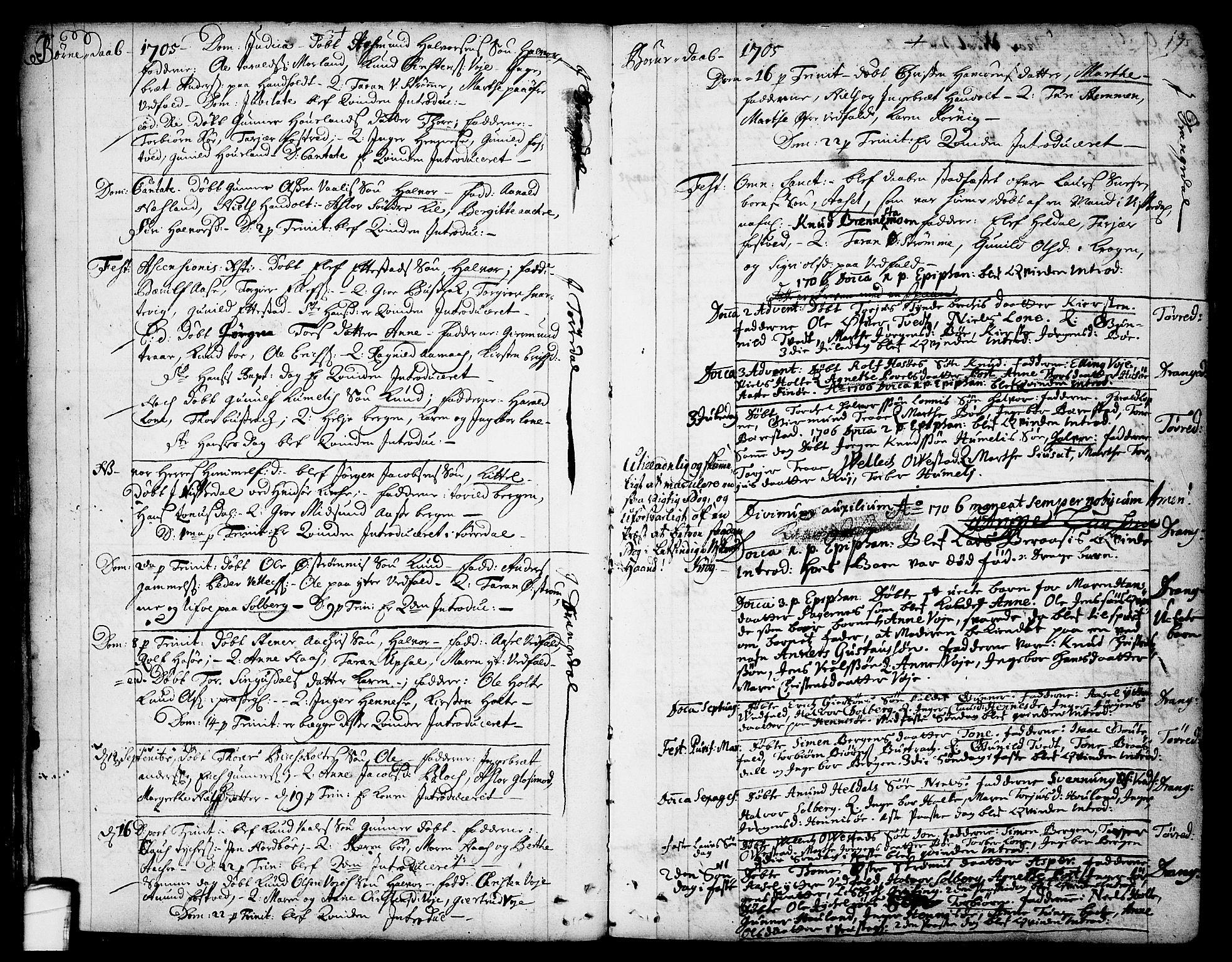 SAKO, Drangedal kirkebøker, F/Fa/L0001: Ministerialbok nr. 1, 1697-1767, s. 17