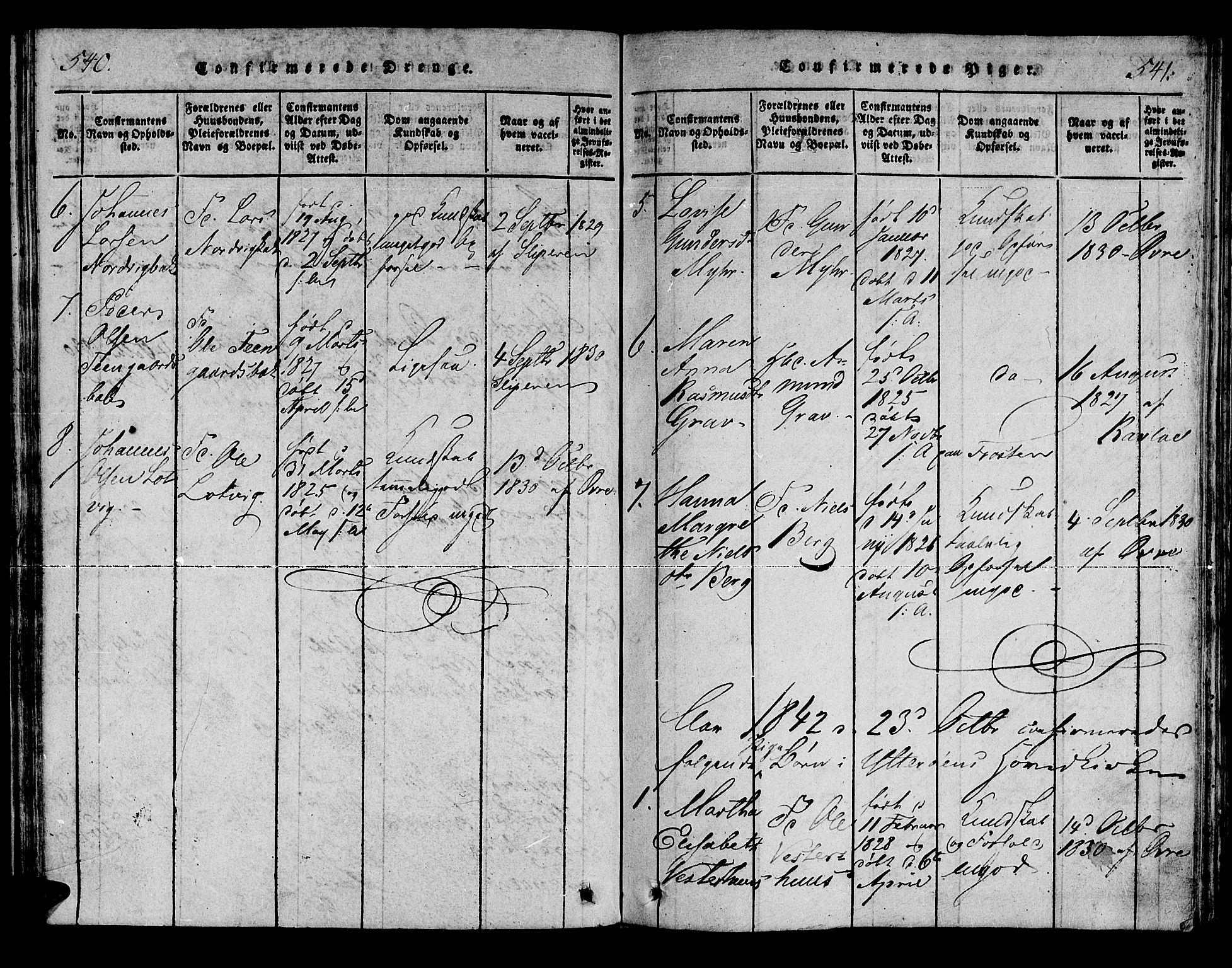 SAT, Ministerialprotokoller, klokkerbøker og fødselsregistre - Nord-Trøndelag, 722/L0217: Ministerialbok nr. 722A04, 1817-1842, s. 540-541