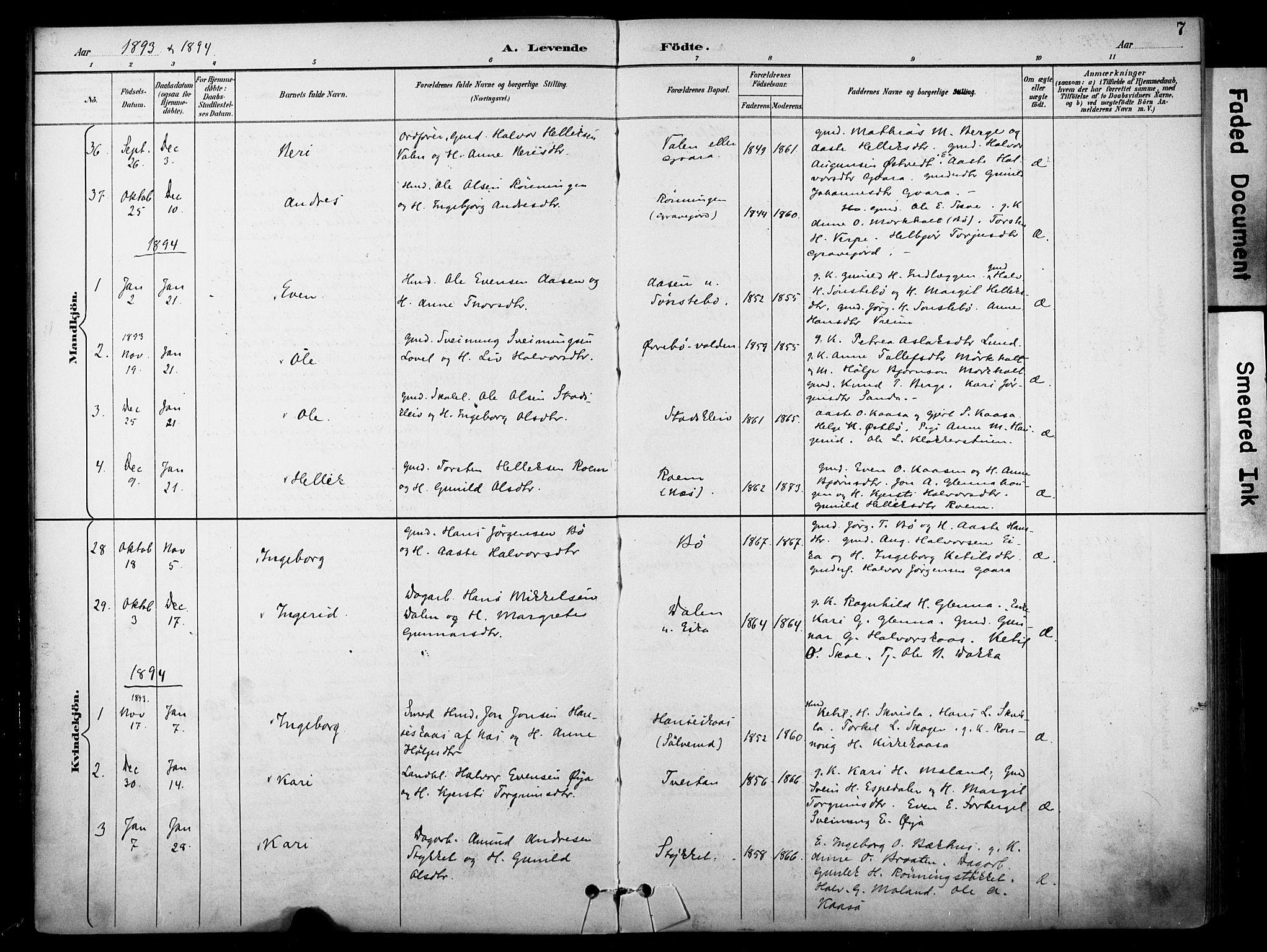 SAKO, Bø kirkebøker, F/Fa/L0011: Ministerialbok nr. 11, 1892-1900, s. 7