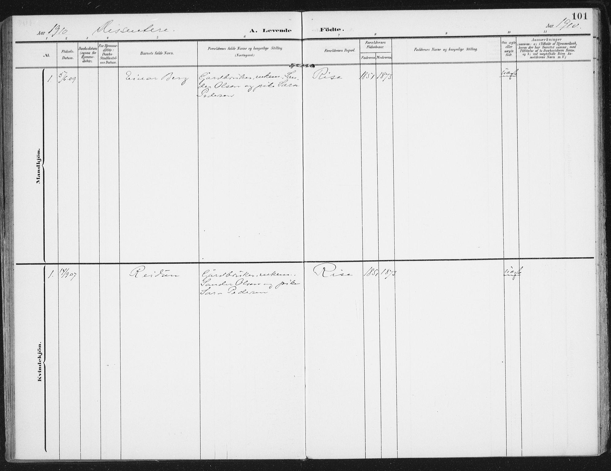 SAT, Ministerialprotokoller, klokkerbøker og fødselsregistre - Nordland, 892/L1321: Ministerialbok nr. 892A02, 1902-1918, s. 101
