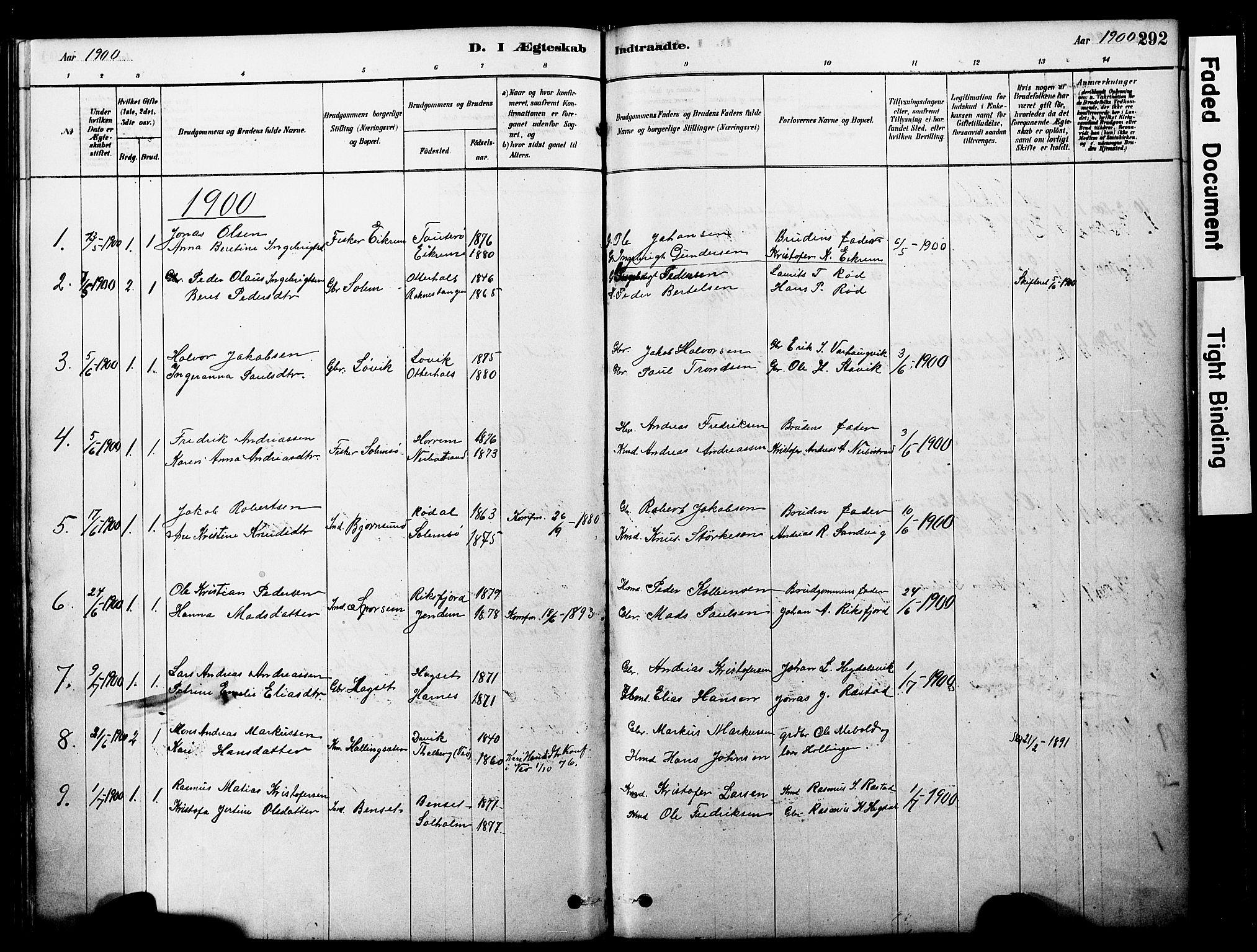 SAT, Ministerialprotokoller, klokkerbøker og fødselsregistre - Møre og Romsdal, 560/L0721: Ministerialbok nr. 560A05, 1878-1917, s. 292
