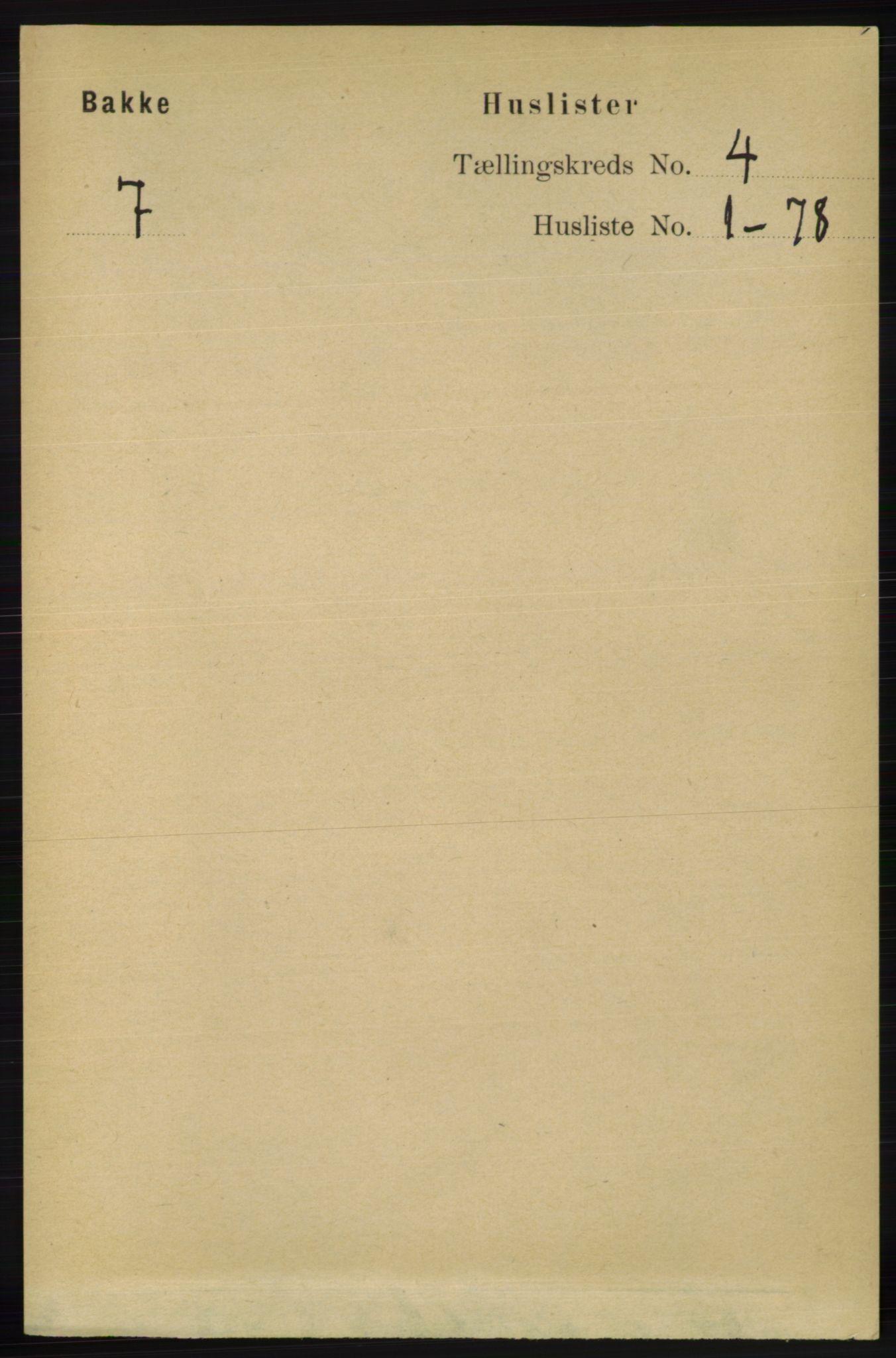 RA, Folketelling 1891 for 1045 Bakke herred, 1891, s. 543