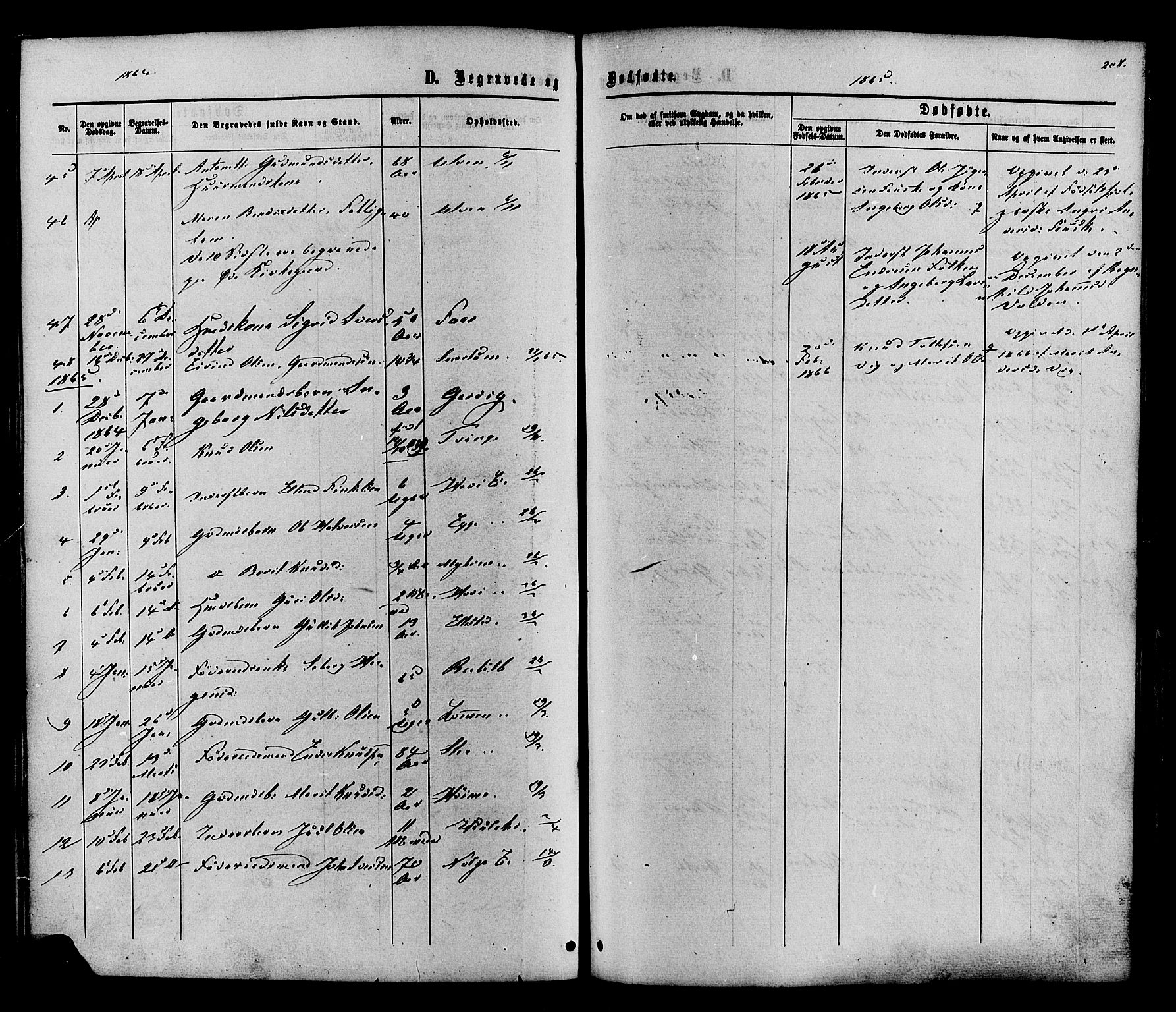 SAH, Vestre Slidre prestekontor, Ministerialbok nr. 3, 1865-1880, s. 208