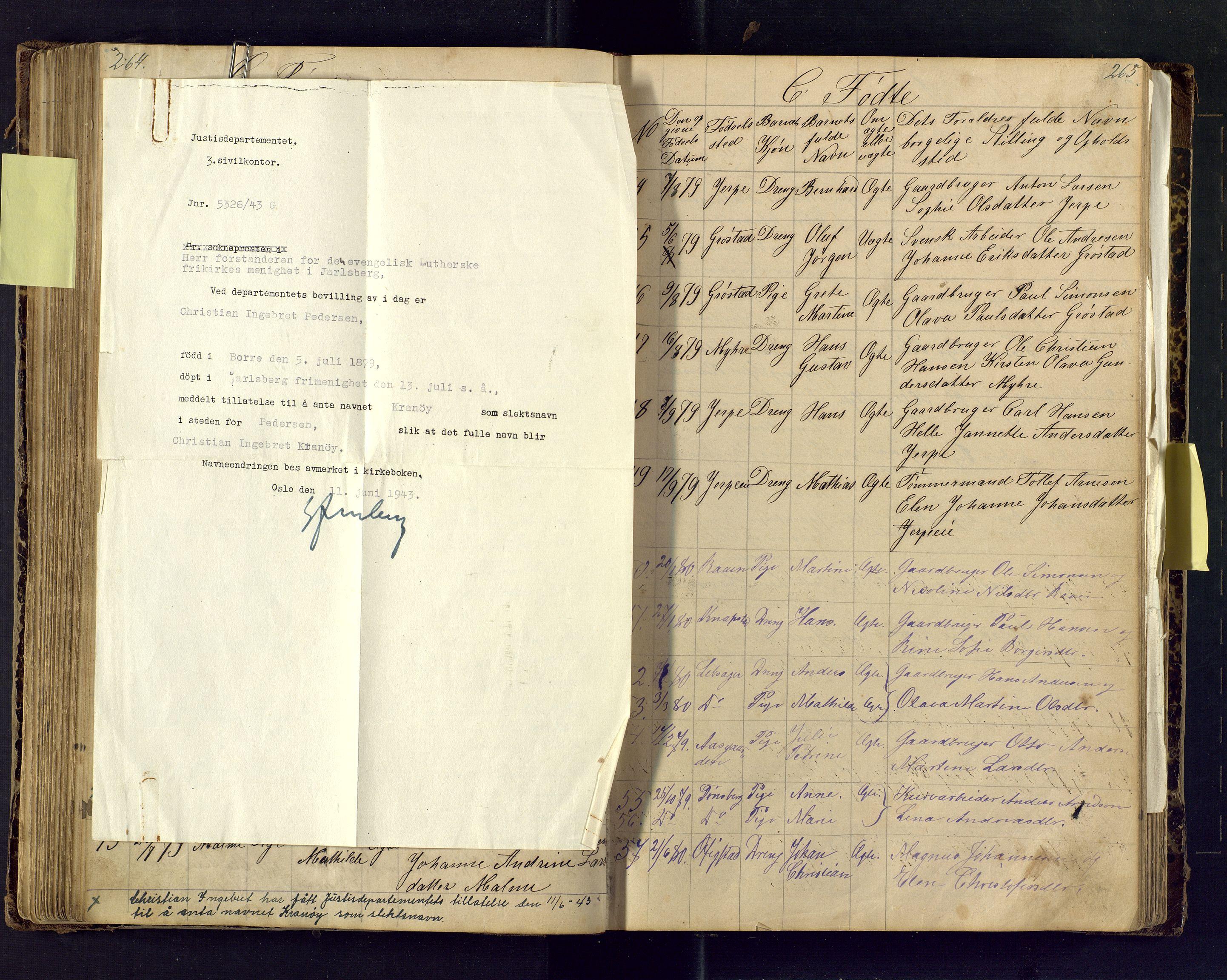 SAKO, Den evangeliske lutherske frimenighet (SAKO), Dissenterprotokoll nr. Fb/L0001, 1872-1907, s. 264-265