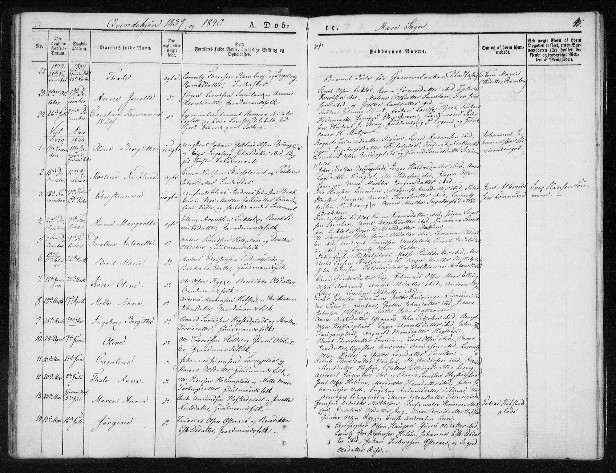 SAT, Ministerialprotokoller, klokkerbøker og fødselsregistre - Nord-Trøndelag, 735/L0339: Ministerialbok nr. 735A06 /1, 1836-1848, s. 45