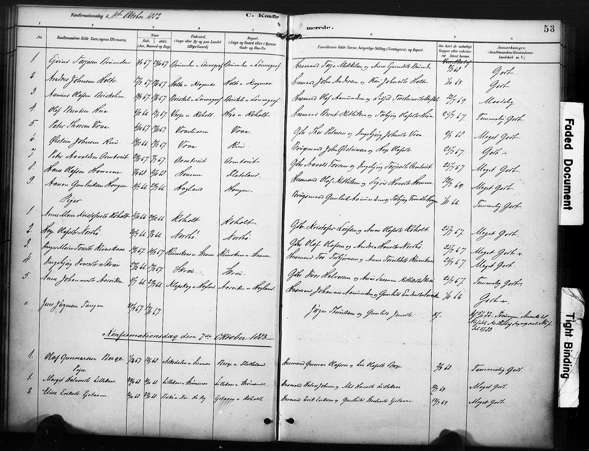 SAKO, Kviteseid kirkebøker, F/Fc/L0002: Ministerialbok nr. III 2, 1882-1908, s. 53