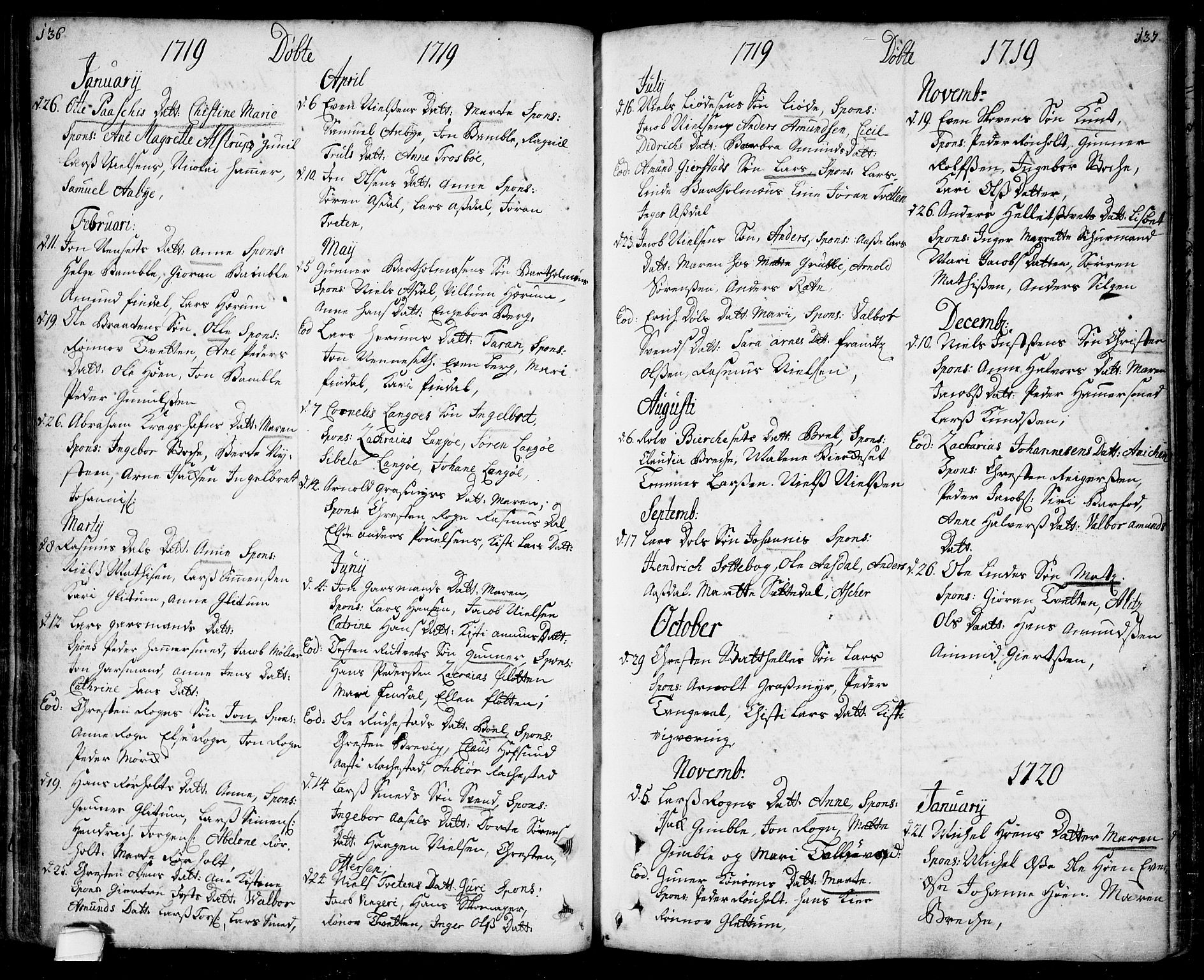 SAKO, Bamble kirkebøker, F/Fa/L0001: Ministerialbok nr. I 1, 1702-1774, s. 136-137