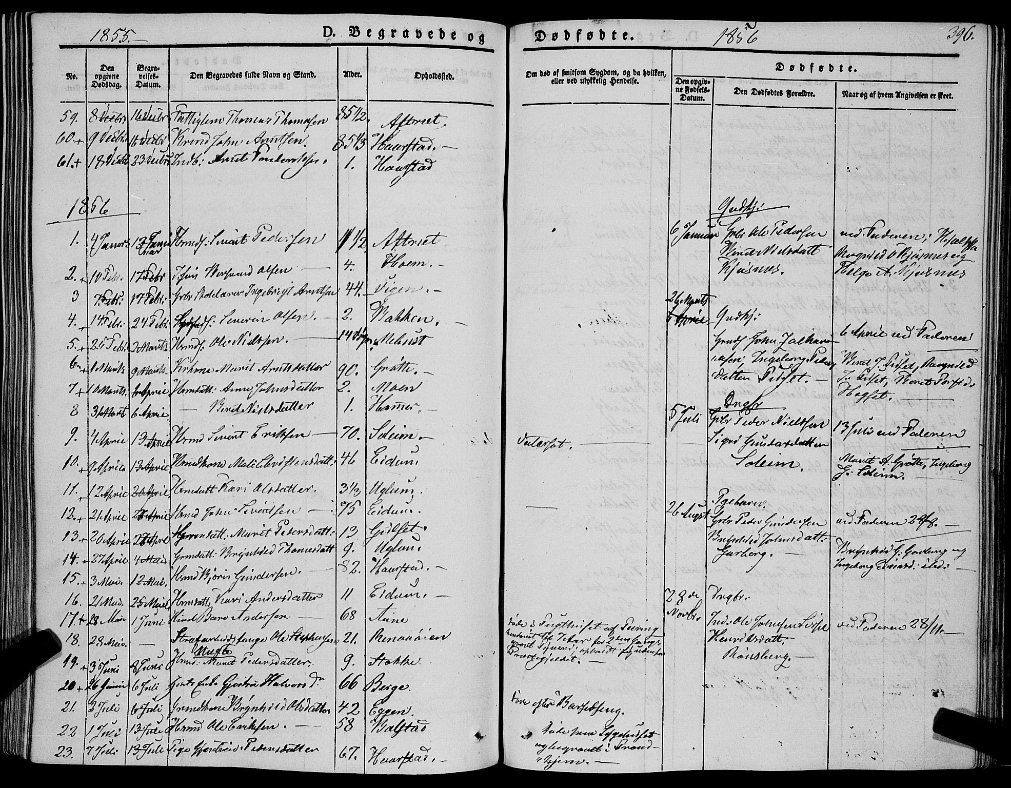 SAT, Ministerialprotokoller, klokkerbøker og fødselsregistre - Sør-Trøndelag, 695/L1145: Ministerialbok nr. 695A06 /1, 1843-1859, s. 396