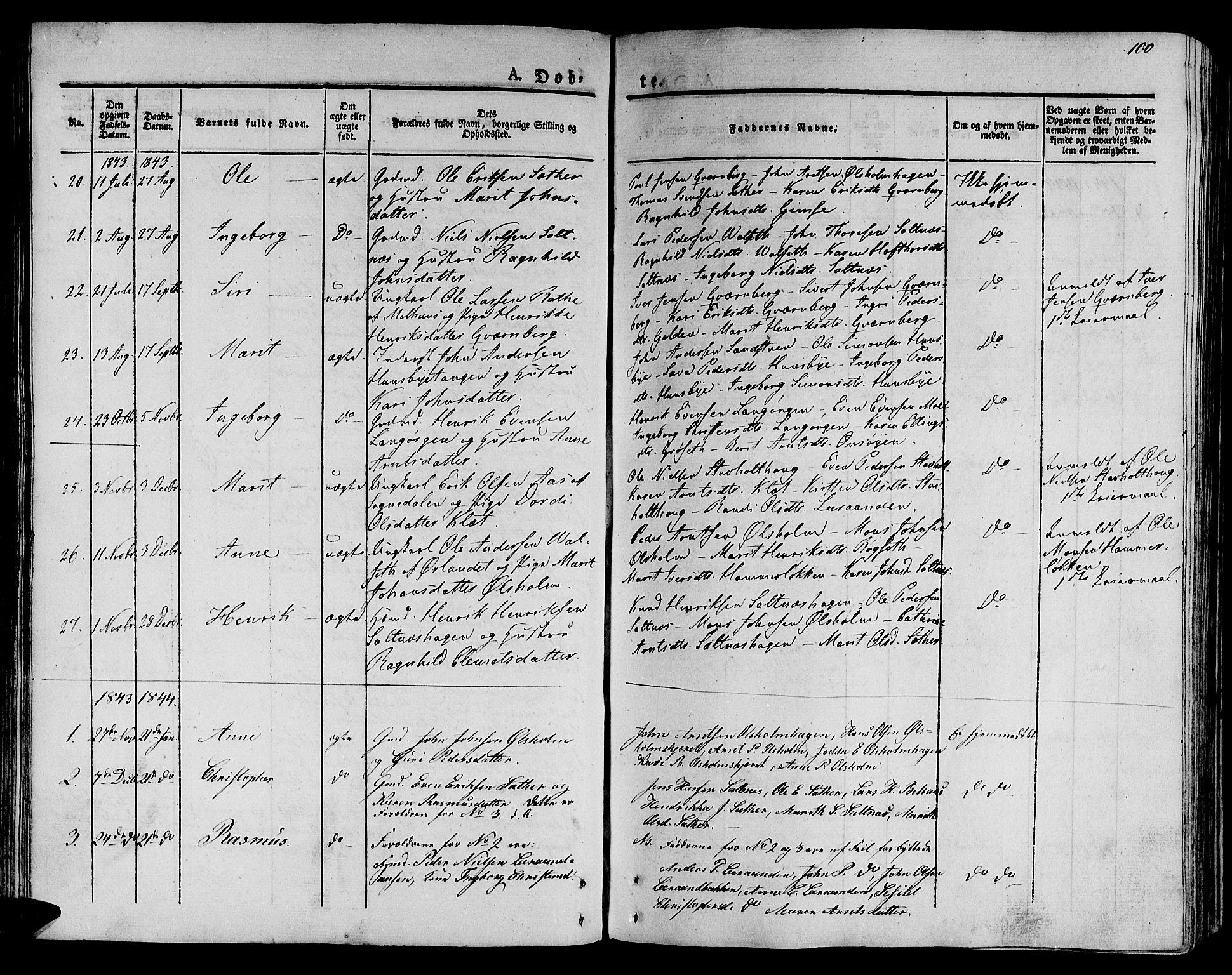 SAT, Ministerialprotokoller, klokkerbøker og fødselsregistre - Sør-Trøndelag, 612/L0375: Ministerialbok nr. 612A07 /2, 1829-1845, s. 100