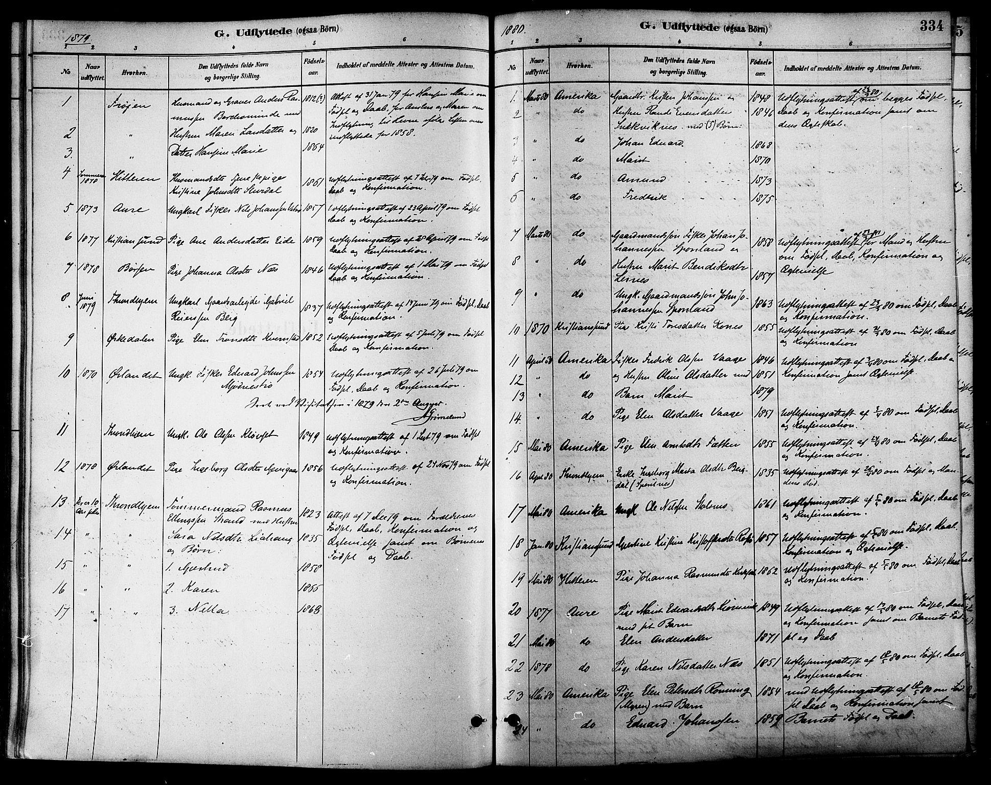 SAT, Ministerialprotokoller, klokkerbøker og fødselsregistre - Sør-Trøndelag, 630/L0496: Ministerialbok nr. 630A09, 1879-1895, s. 334