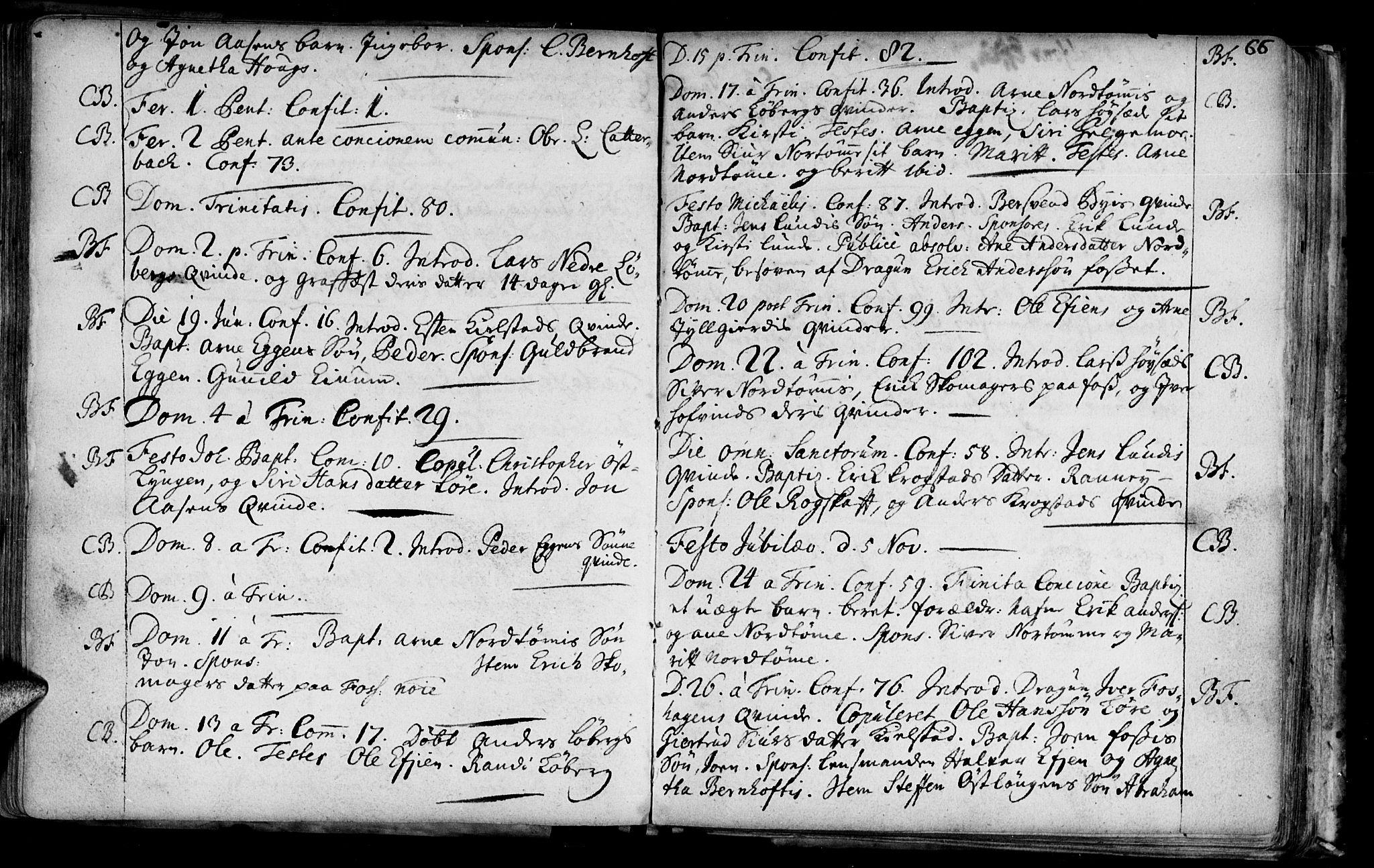 SAT, Ministerialprotokoller, klokkerbøker og fødselsregistre - Sør-Trøndelag, 692/L1101: Ministerialbok nr. 692A01, 1690-1746, s. 66