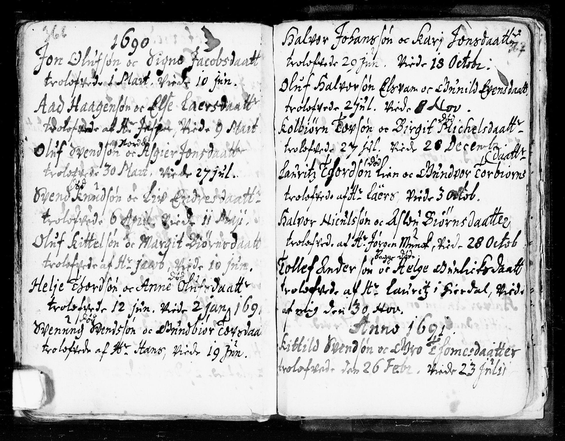 SAKO, Seljord kirkebøker, F/Fa/L0002: Ministerialbok nr. I 2, 1689-1713, s. 366-367
