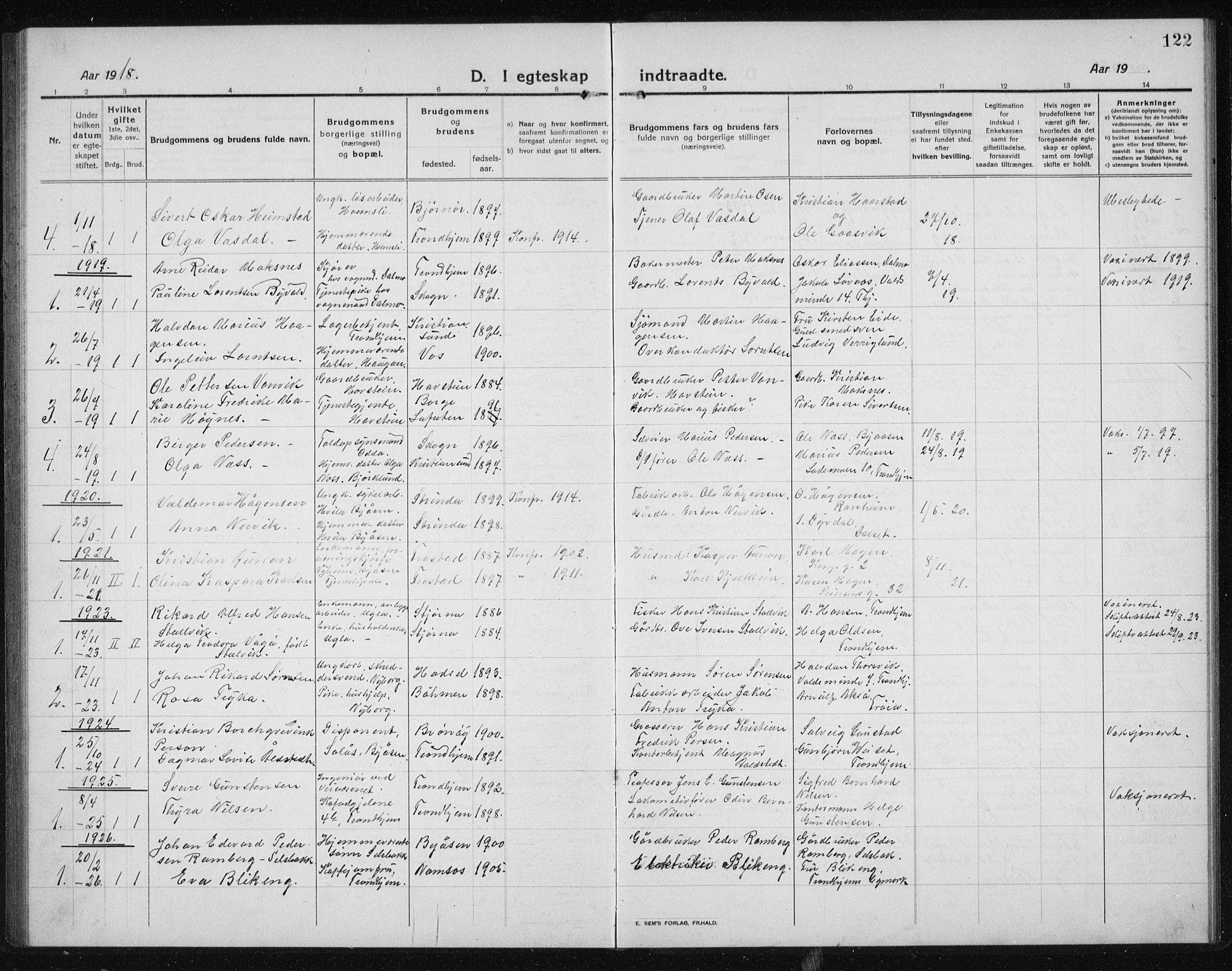 SAT, Ministerialprotokoller, klokkerbøker og fødselsregistre - Sør-Trøndelag, 611/L0356: Klokkerbok nr. 611C04, 1914-1938, s. 122