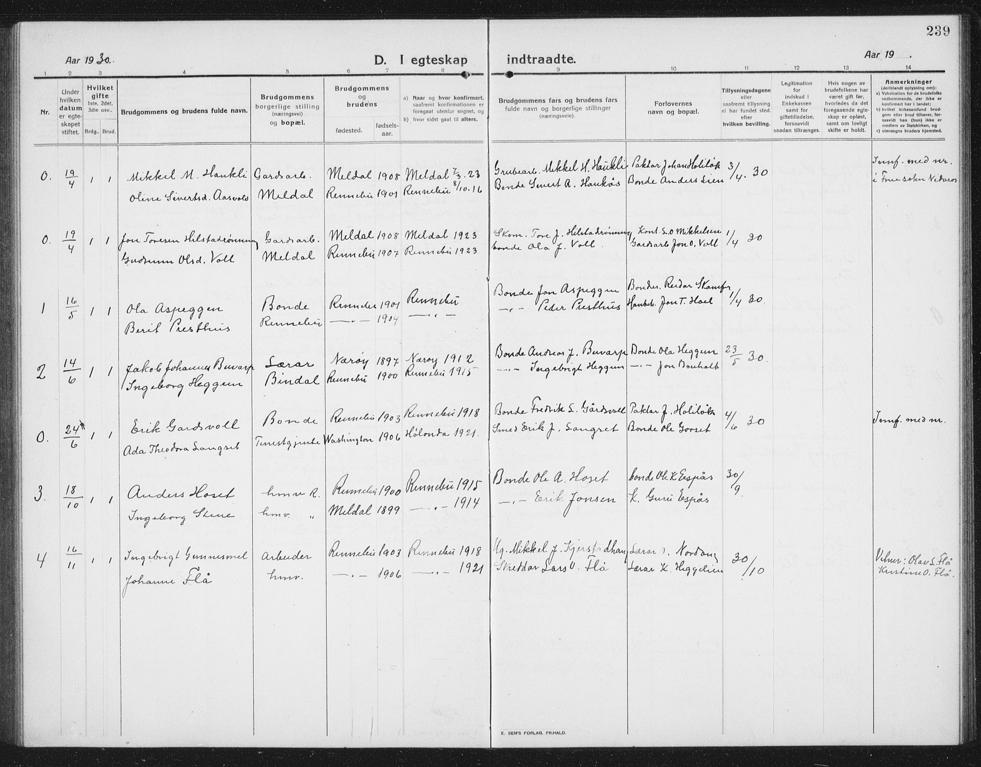 SAT, Ministerialprotokoller, klokkerbøker og fødselsregistre - Sør-Trøndelag, 674/L0877: Klokkerbok nr. 674C04, 1913-1940, s. 239