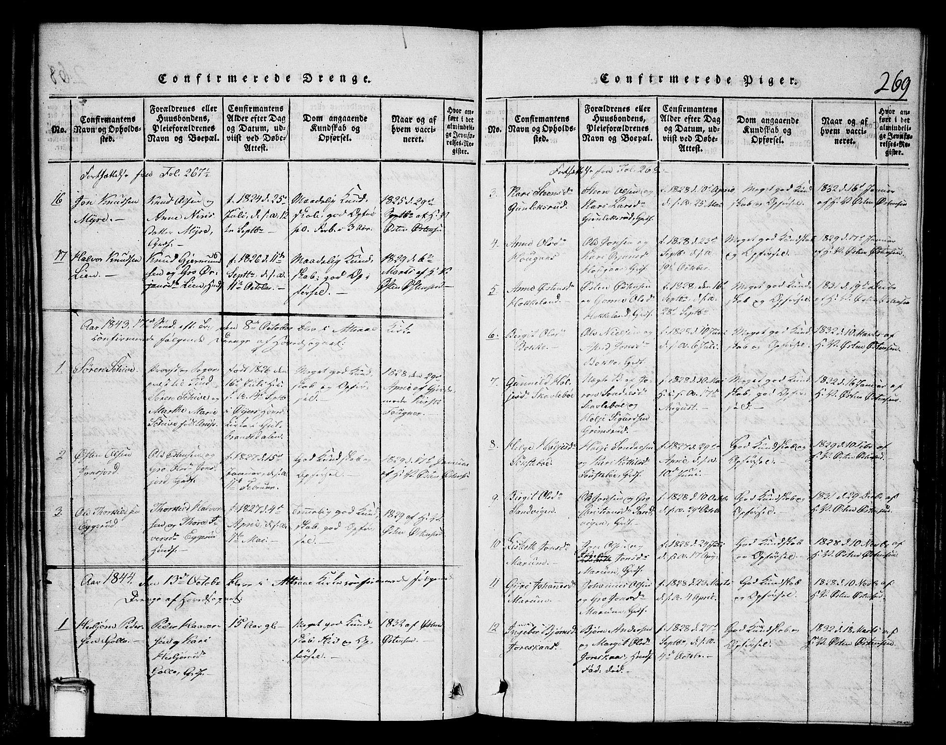 SAKO, Tinn kirkebøker, G/Gb/L0001: Klokkerbok nr. II 1 /2, 1837-1850, s. 269