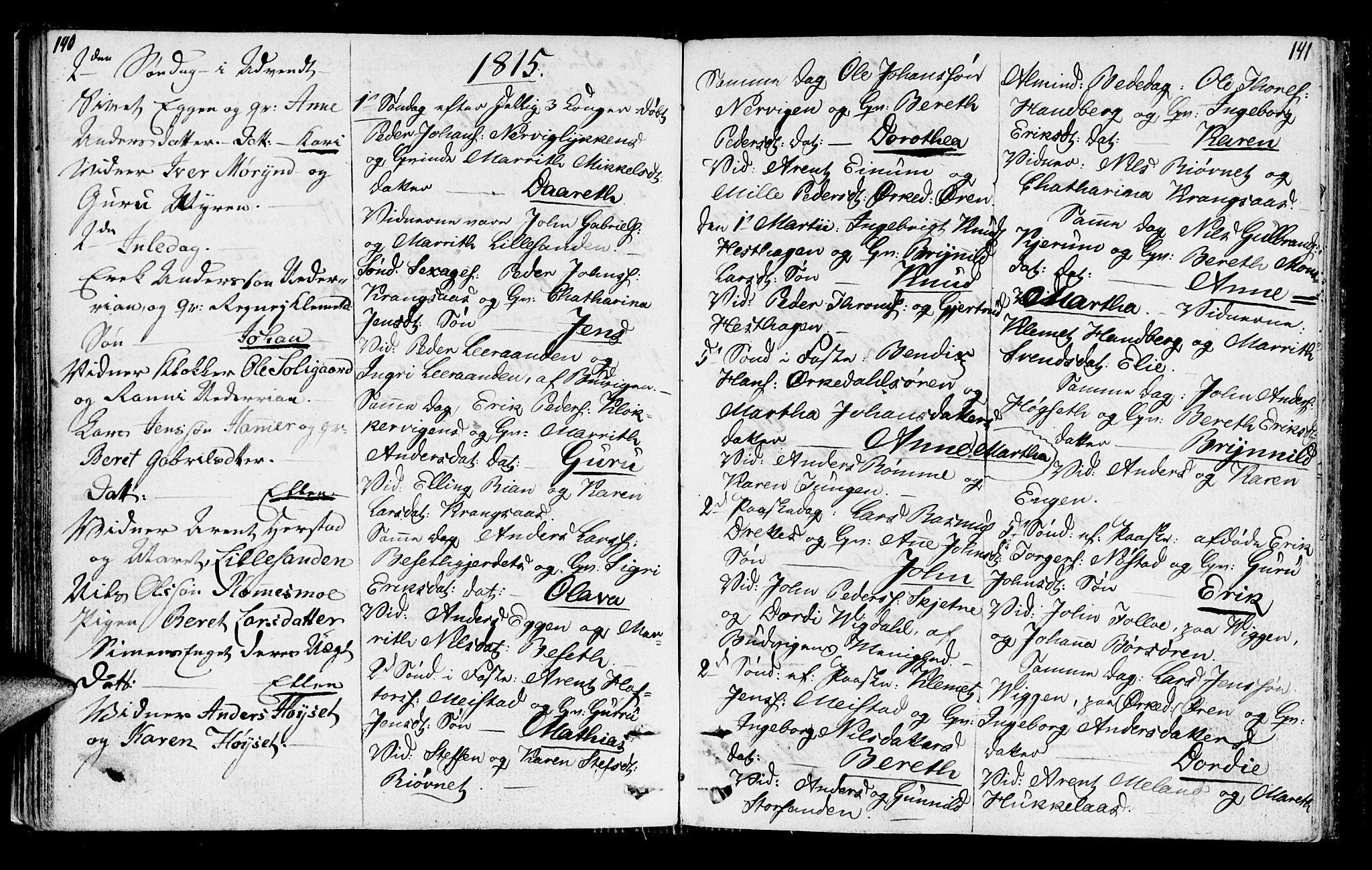 SAT, Ministerialprotokoller, klokkerbøker og fødselsregistre - Sør-Trøndelag, 665/L0769: Ministerialbok nr. 665A04, 1803-1816, s. 140-141