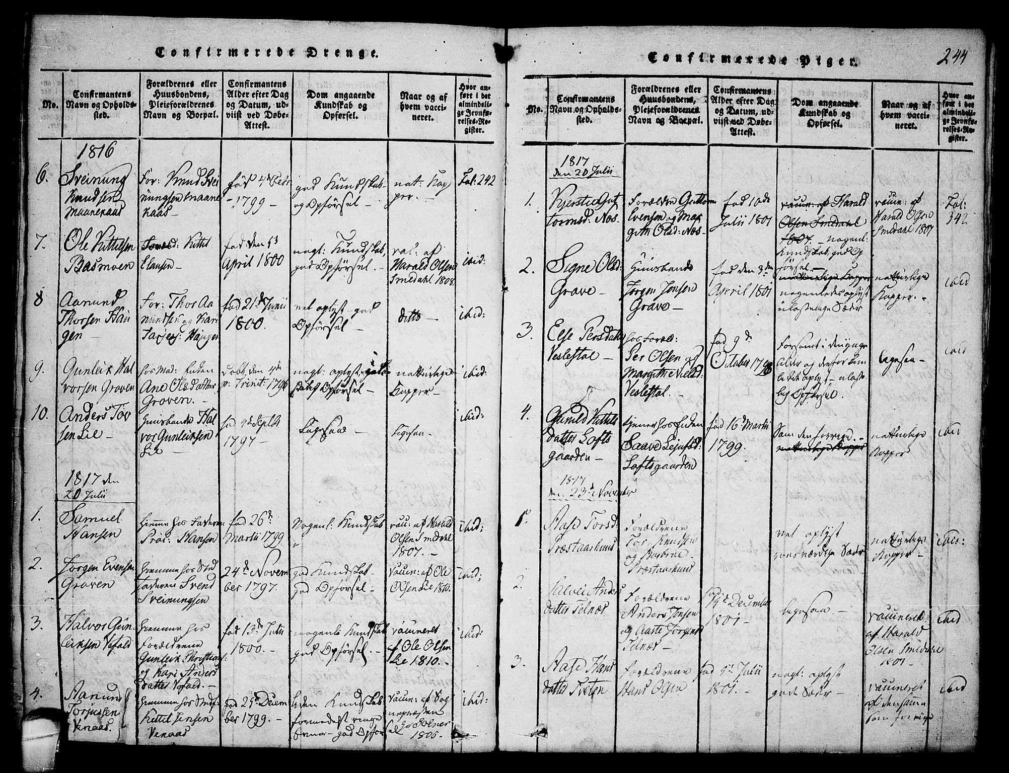SAKO, Seljord kirkebøker, F/Fa/L0010: Ministerialbok nr. I 10, 1815-1831, s. 244