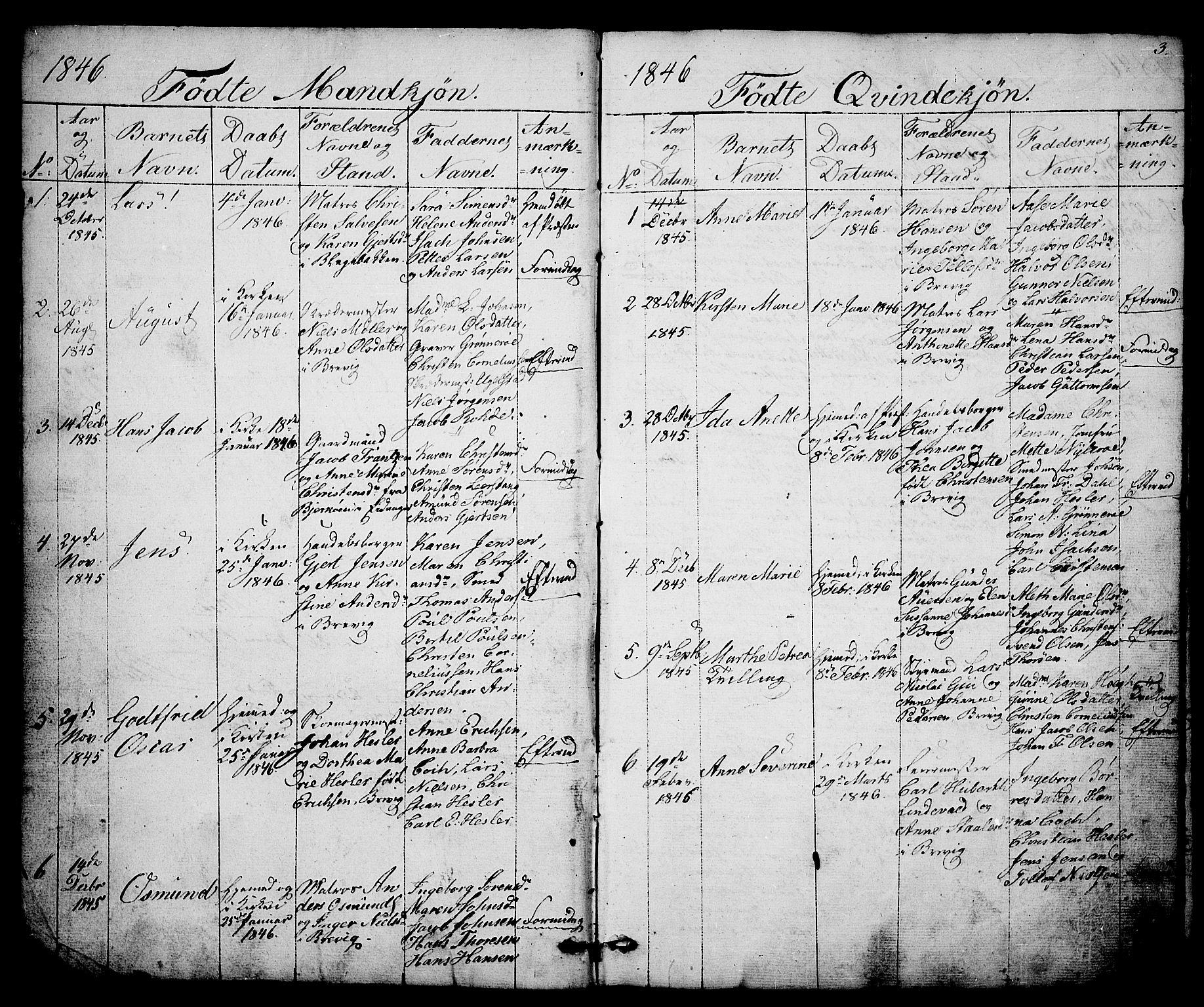 SAKO, Brevik kirkebøker, G/Ga/L0002: Klokkerbok nr. 2, 1846-1865, s. 3
