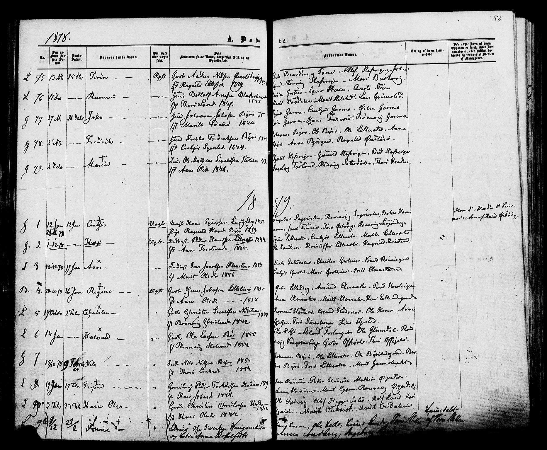 SAH, Lom prestekontor, K/L0007: Ministerialbok nr. 7, 1863-1884, s. 84