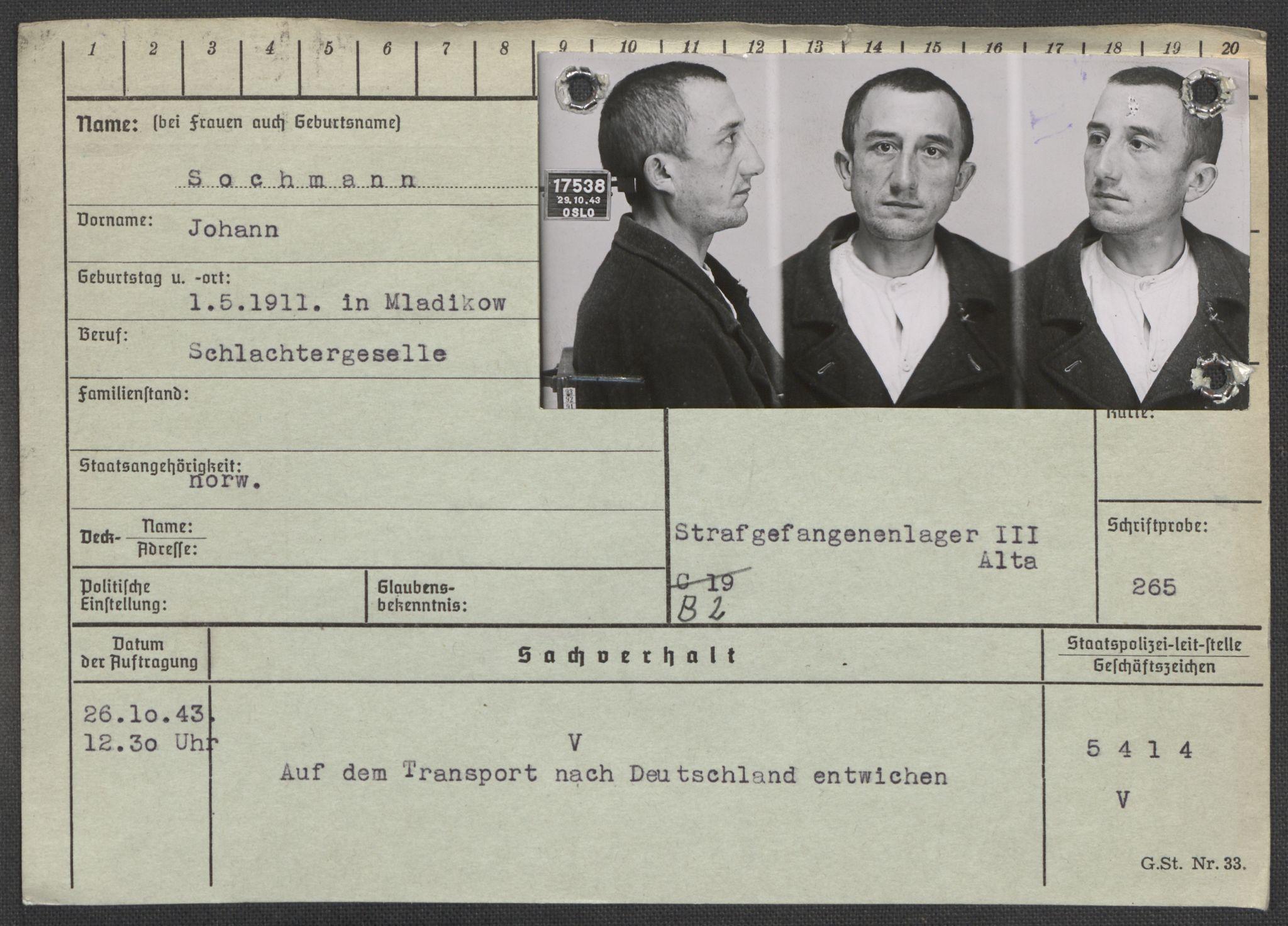 RA, Befehlshaber der Sicherheitspolizei und des SD, E/Ea/Eaa/L0009: Register over norske fanger i Møllergata 19: Ru-Sy, 1940-1945, s. 954