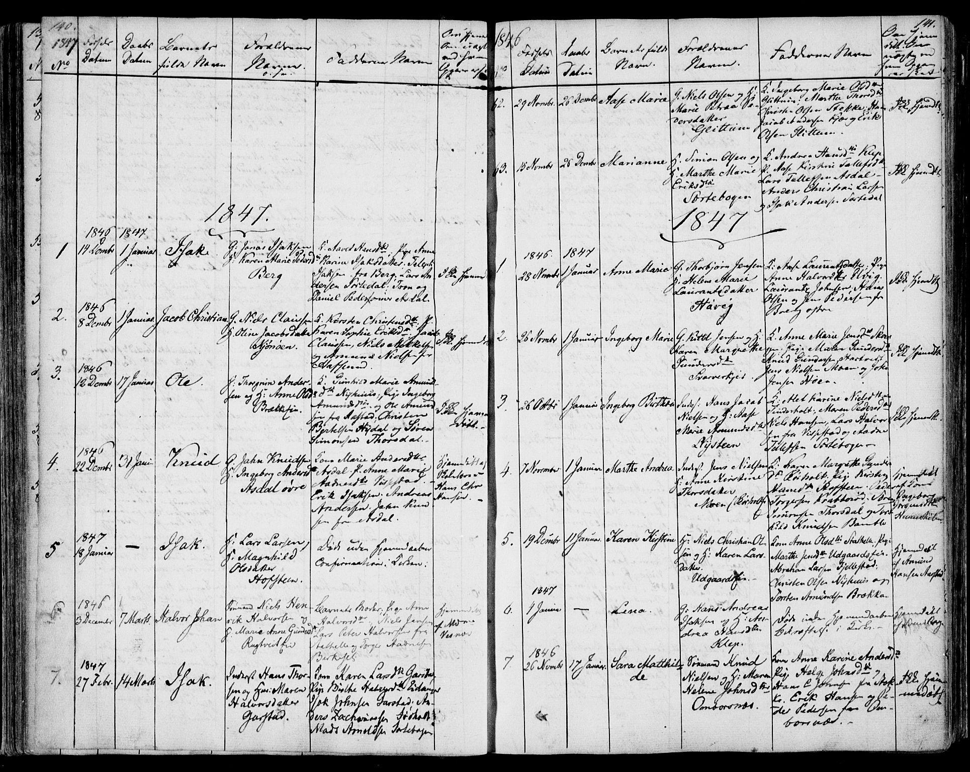 SAKO, Bamble kirkebøker, F/Fa/L0004: Ministerialbok nr. I 4, 1834-1853, s. 140-141