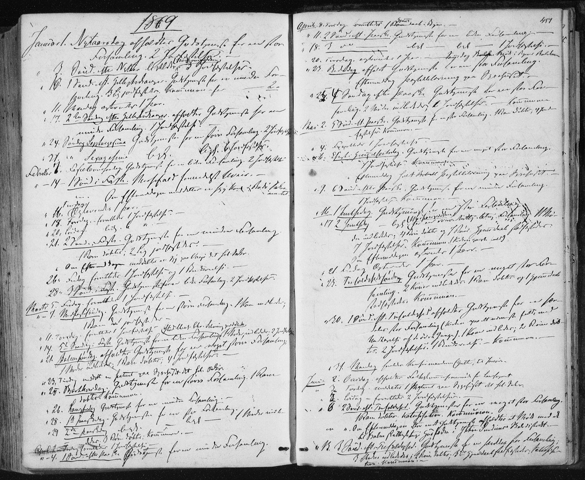 SAT, Ministerialprotokoller, klokkerbøker og fødselsregistre - Nordland, 801/L0008: Ministerialbok nr. 801A08, 1864-1875, s. 451
