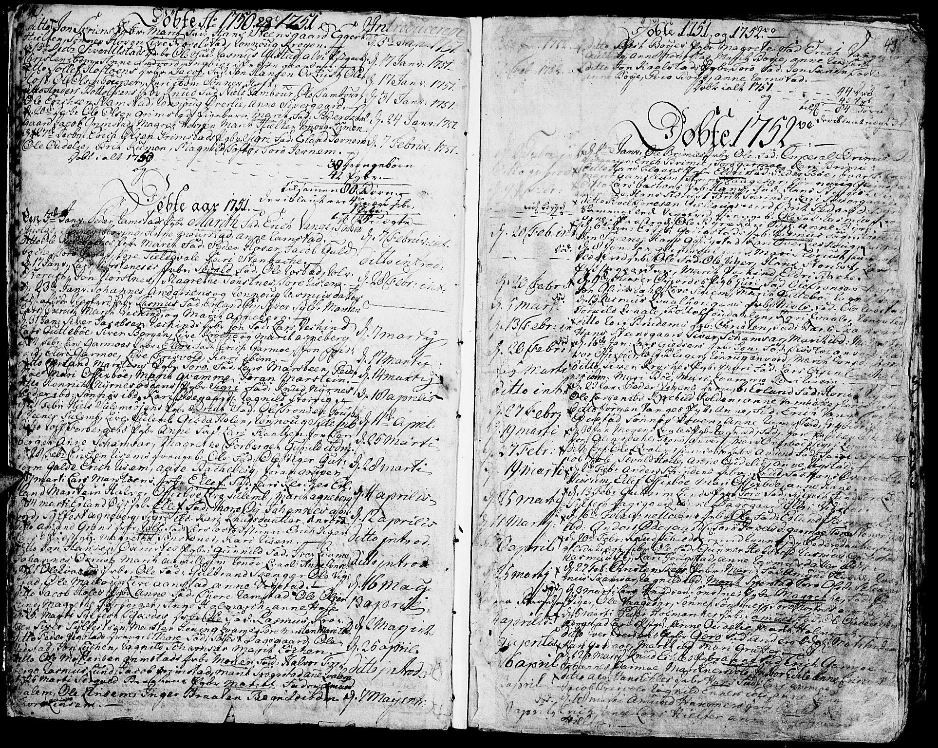 SAH, Lom prestekontor, K/L0002: Ministerialbok nr. 2, 1749-1801, s. 40-43