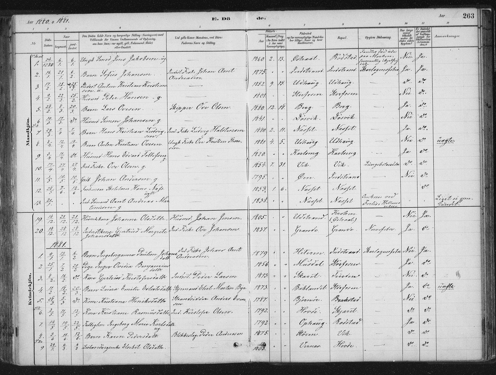SAT, Ministerialprotokoller, klokkerbøker og fødselsregistre - Sør-Trøndelag, 659/L0739: Ministerialbok nr. 659A09, 1879-1893, s. 263