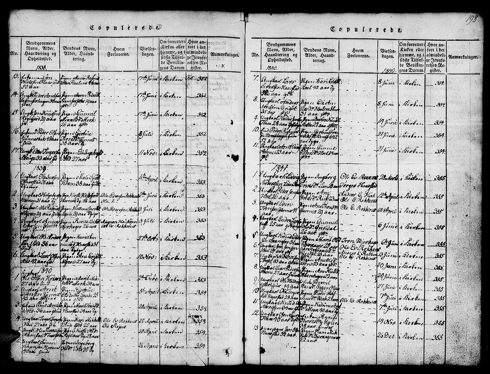 SAT, Ministerialprotokoller, klokkerbøker og fødselsregistre - Sør-Trøndelag, 674/L0874: Klokkerbok nr. 674C01, 1816-1860, s. 198