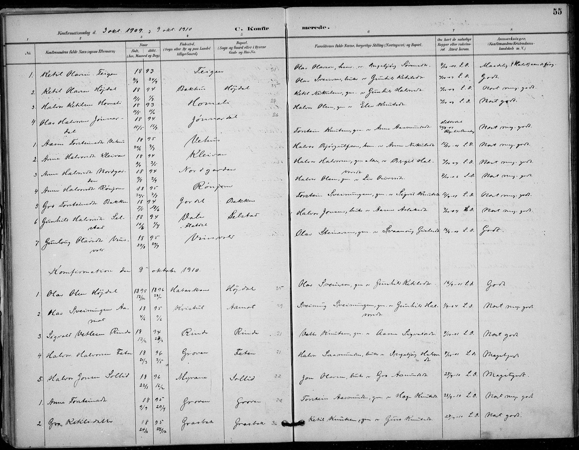 SAKO, Seljord kirkebøker, F/Fc/L0002: Ministerialbok nr. III 2, 1887-1920, s. 55