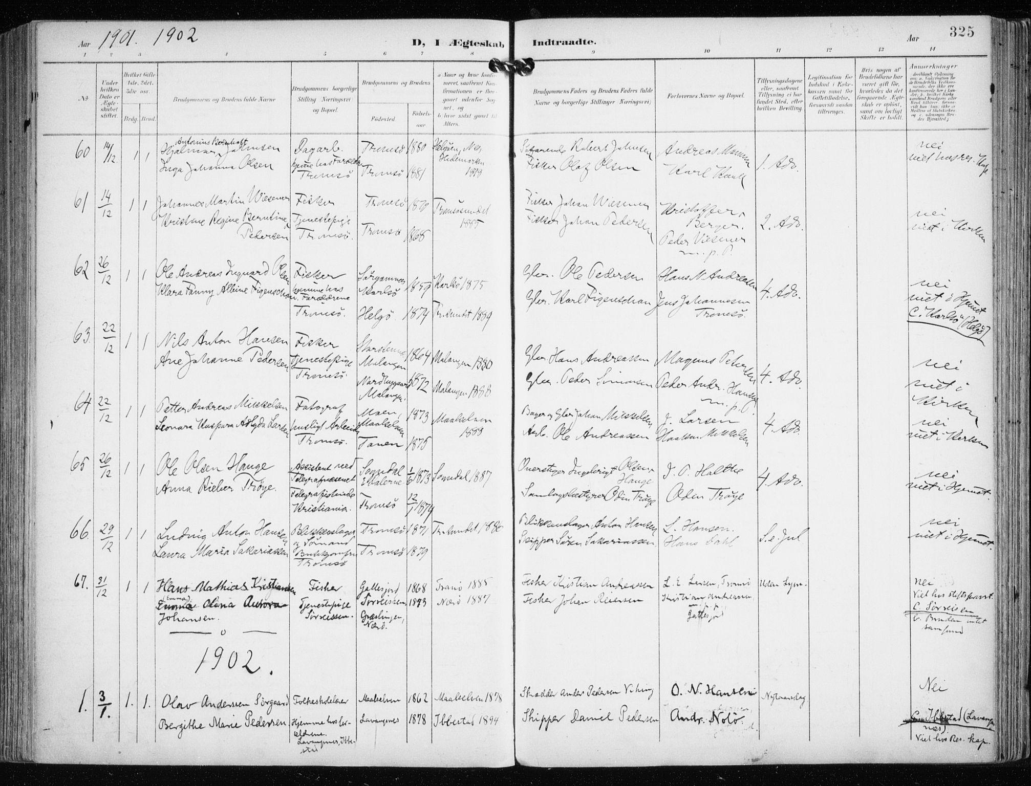 SATØ, Tromsø sokneprestkontor/stiftsprosti/domprosti, G/Ga/L0016kirke: Ministerialbok nr. 16, 1899-1906, s. 325
