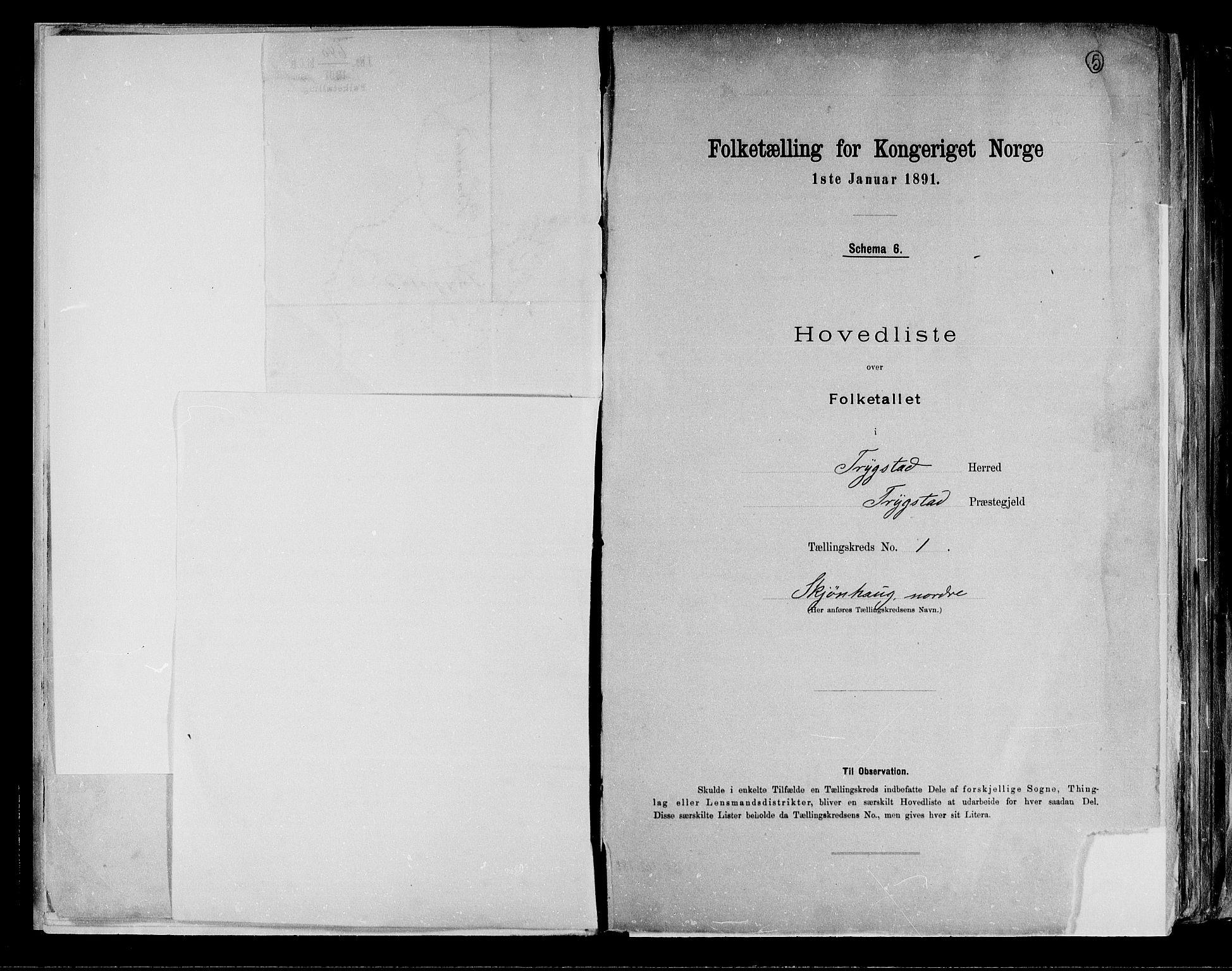 RA, Folketelling 1891 for 0122 Trøgstad herred, 1891, s. 5