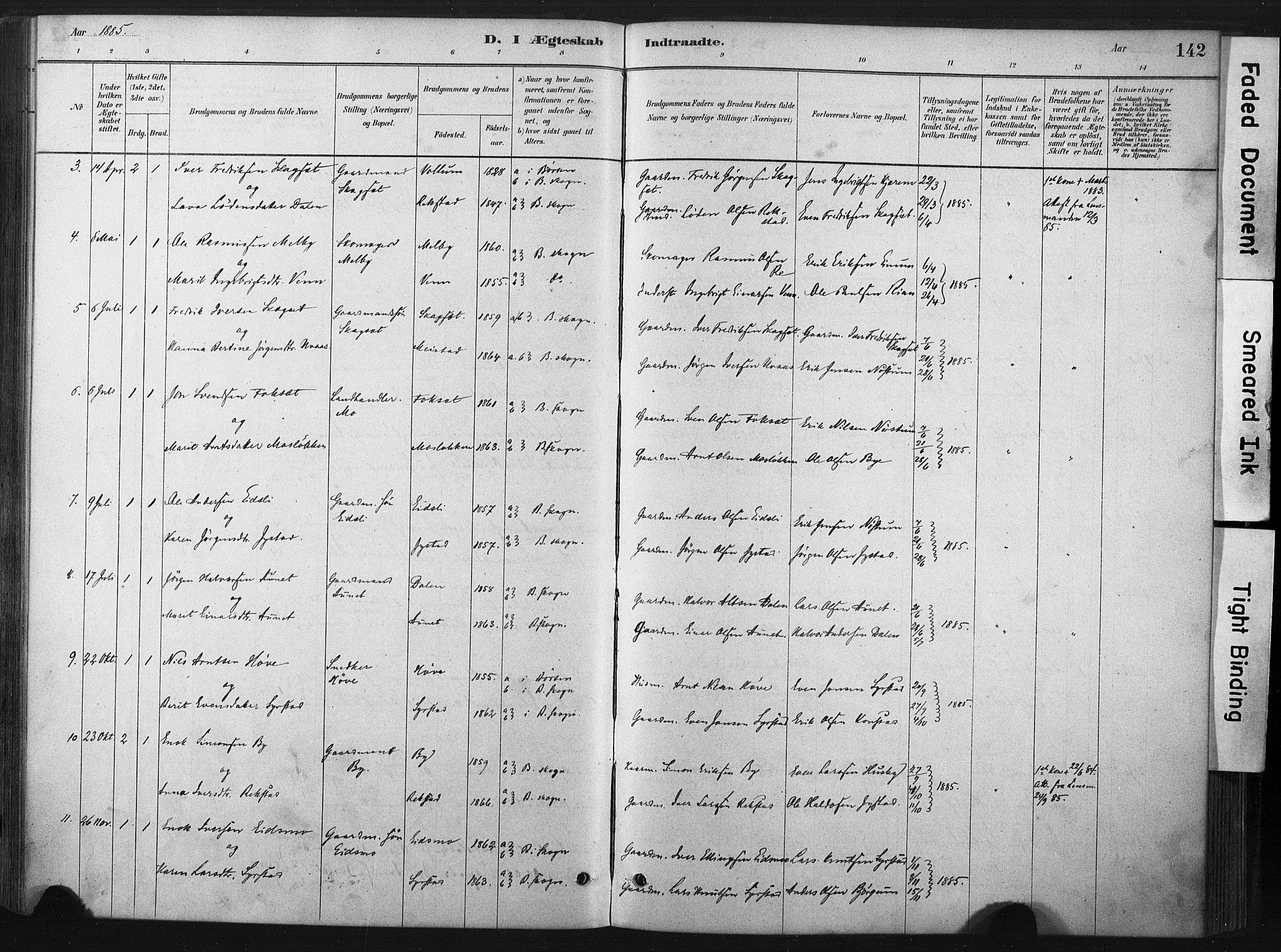 SAT, Ministerialprotokoller, klokkerbøker og fødselsregistre - Sør-Trøndelag, 667/L0795: Ministerialbok nr. 667A03, 1879-1907, s. 142