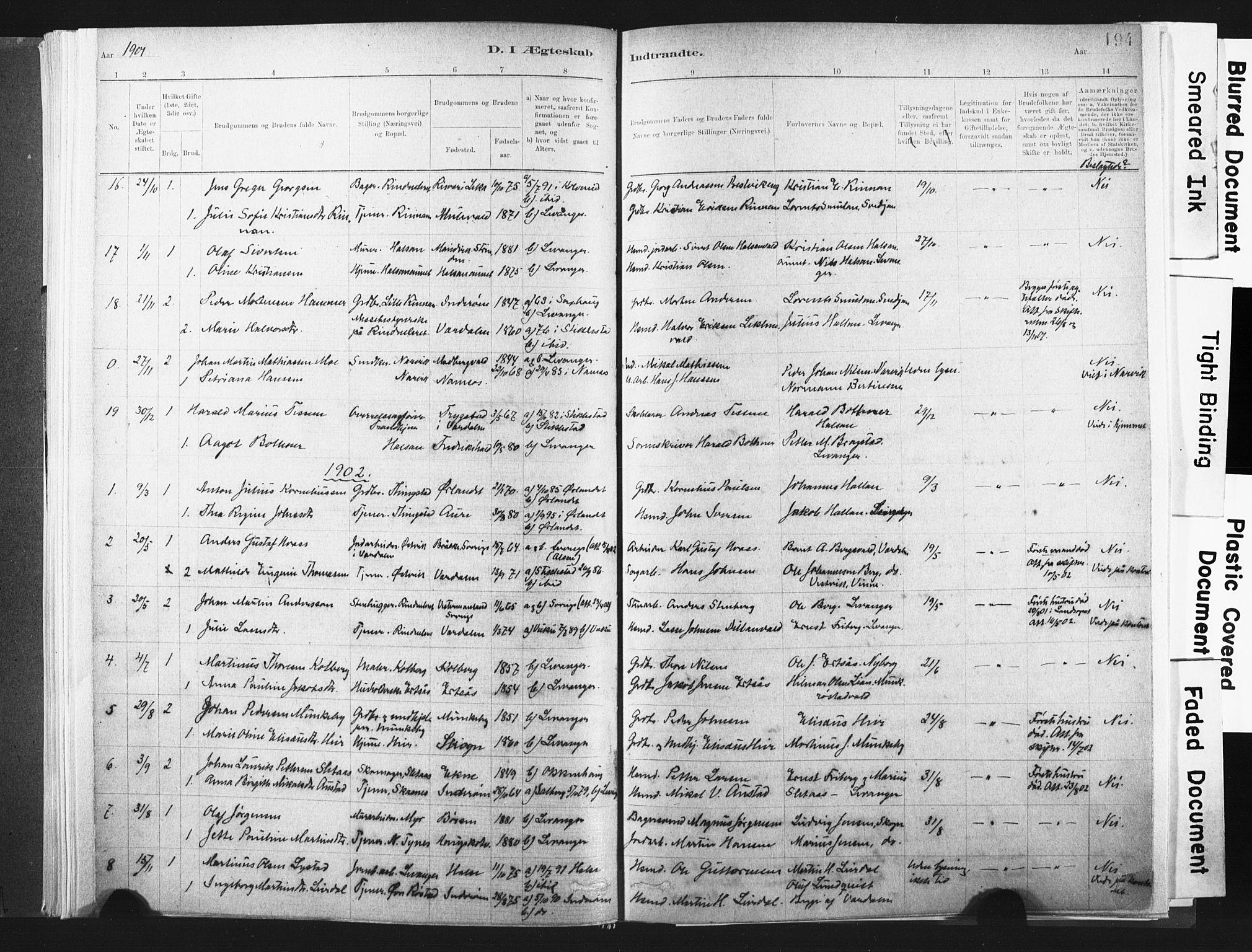 SAT, Ministerialprotokoller, klokkerbøker og fødselsregistre - Nord-Trøndelag, 721/L0207: Ministerialbok nr. 721A02, 1880-1911, s. 194
