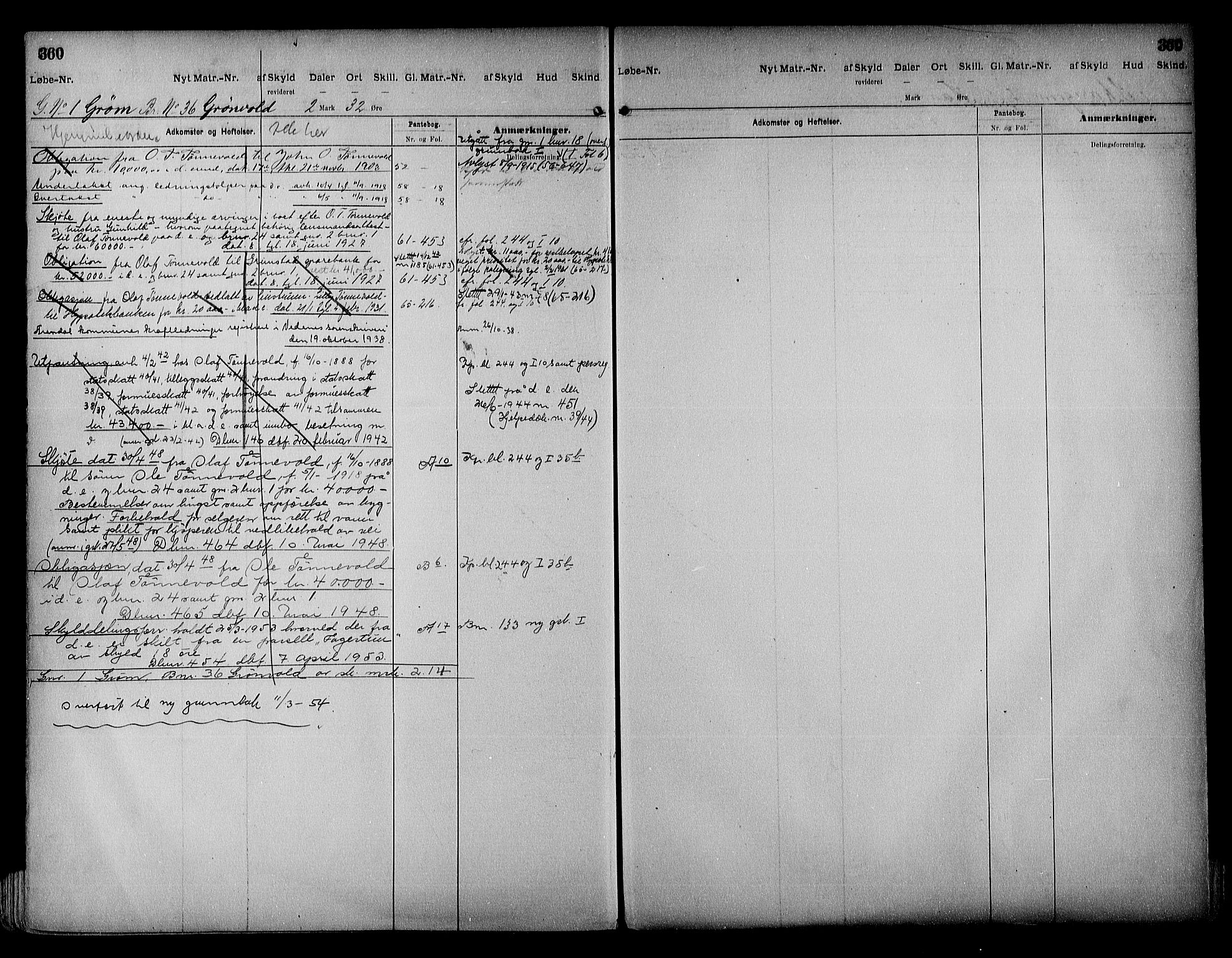 SAK, Vestre Nedenes/Sand sorenskriveri, G/Ga/L0018: Panteregister nr. 13b, 1872-1956, s. 360