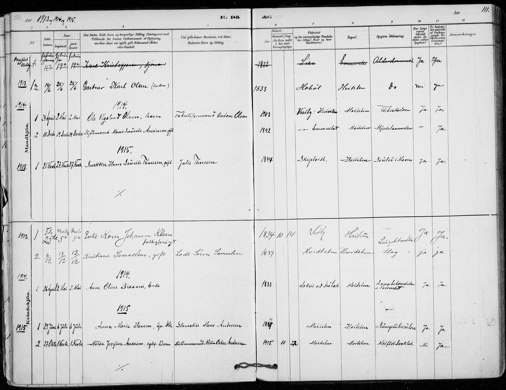 SAO, Vestby prestekontor Kirkebøker, F/Fd/L0001: Ministerialbok nr. IV 1, 1878-1945, s. 111