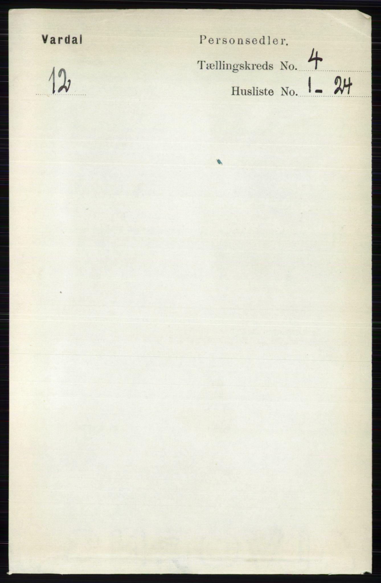 RA, Folketelling 1891 for 0527 Vardal herred, 1891, s. 1594