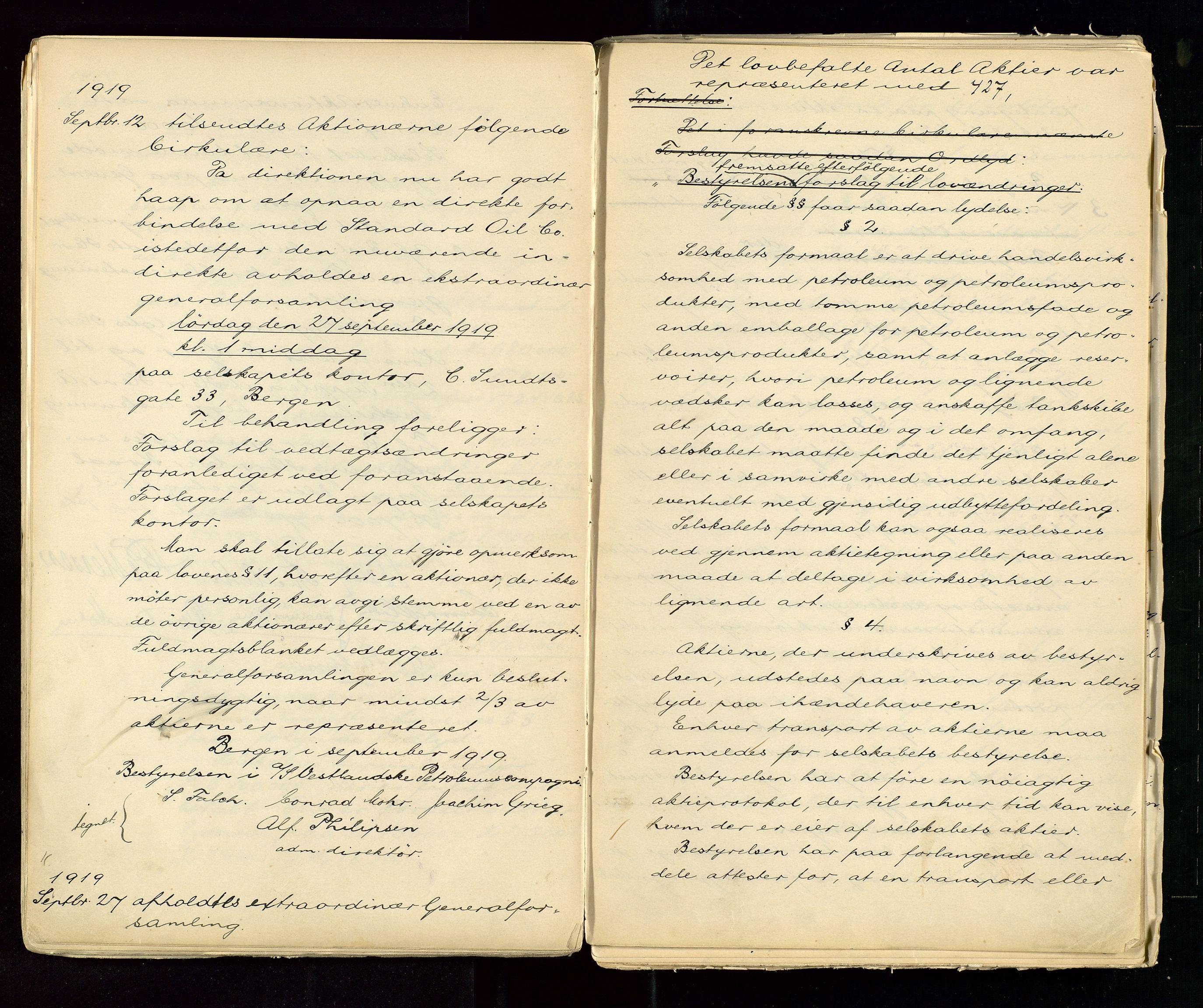SAST, PA 1533 - A/S Vestlandske Petroleumscompani, A/Aa/L0001: Generalforsamlinger og styreprotokoller, 1890-1953, s. 61
