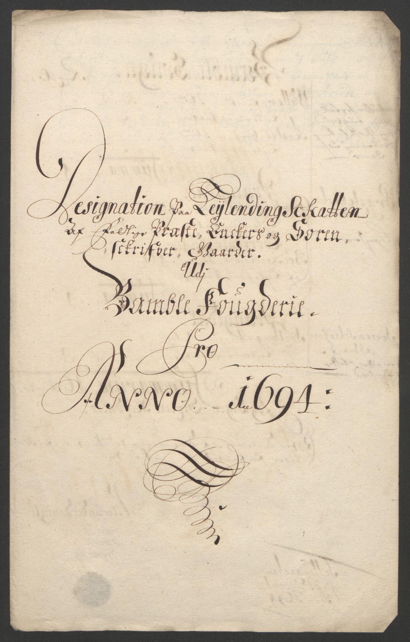 RA, Rentekammeret inntil 1814, Reviderte regnskaper, Fogderegnskap, R36/L2092: Fogderegnskap Øvre og Nedre Telemark og Bamble, 1694, s. 239