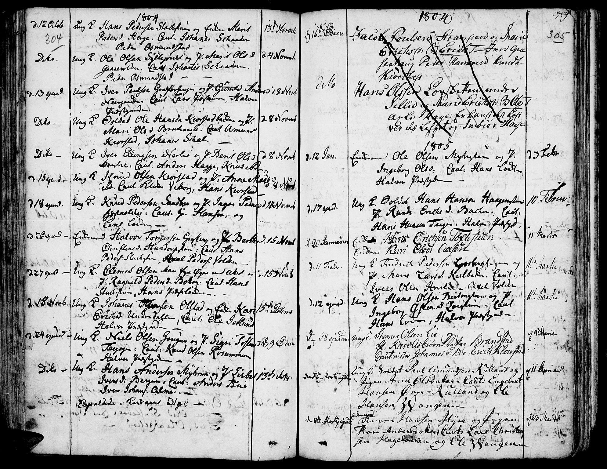 SAH, Fron prestekontor, H/Ha/Haa/L0001: Ministerialbok nr. 1, 1799-1816, s. 304-305