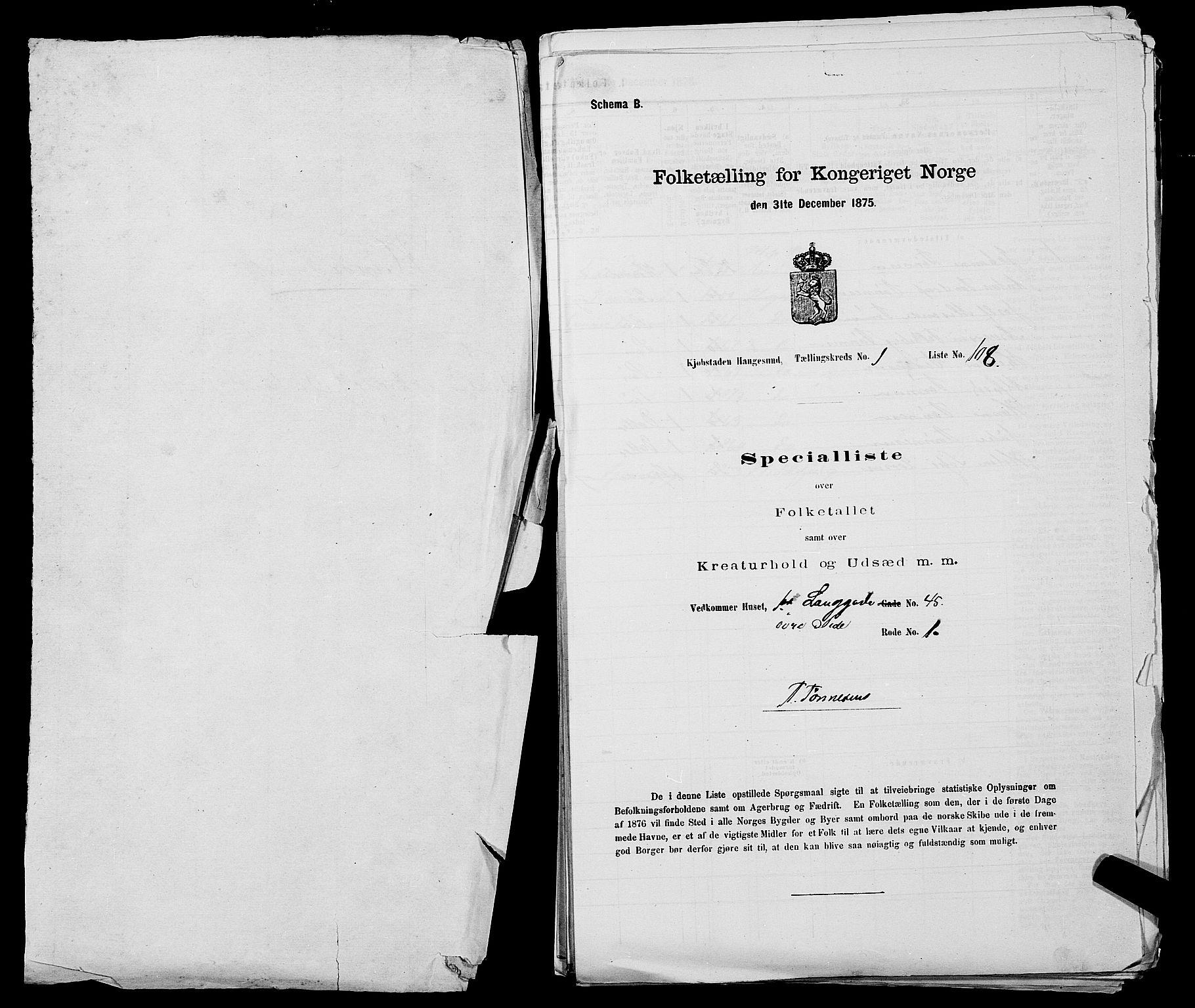SAST, Folketelling 1875 for 1106B Torvastad prestegjeld, Haugesund kjøpstad, 1875, s. 1