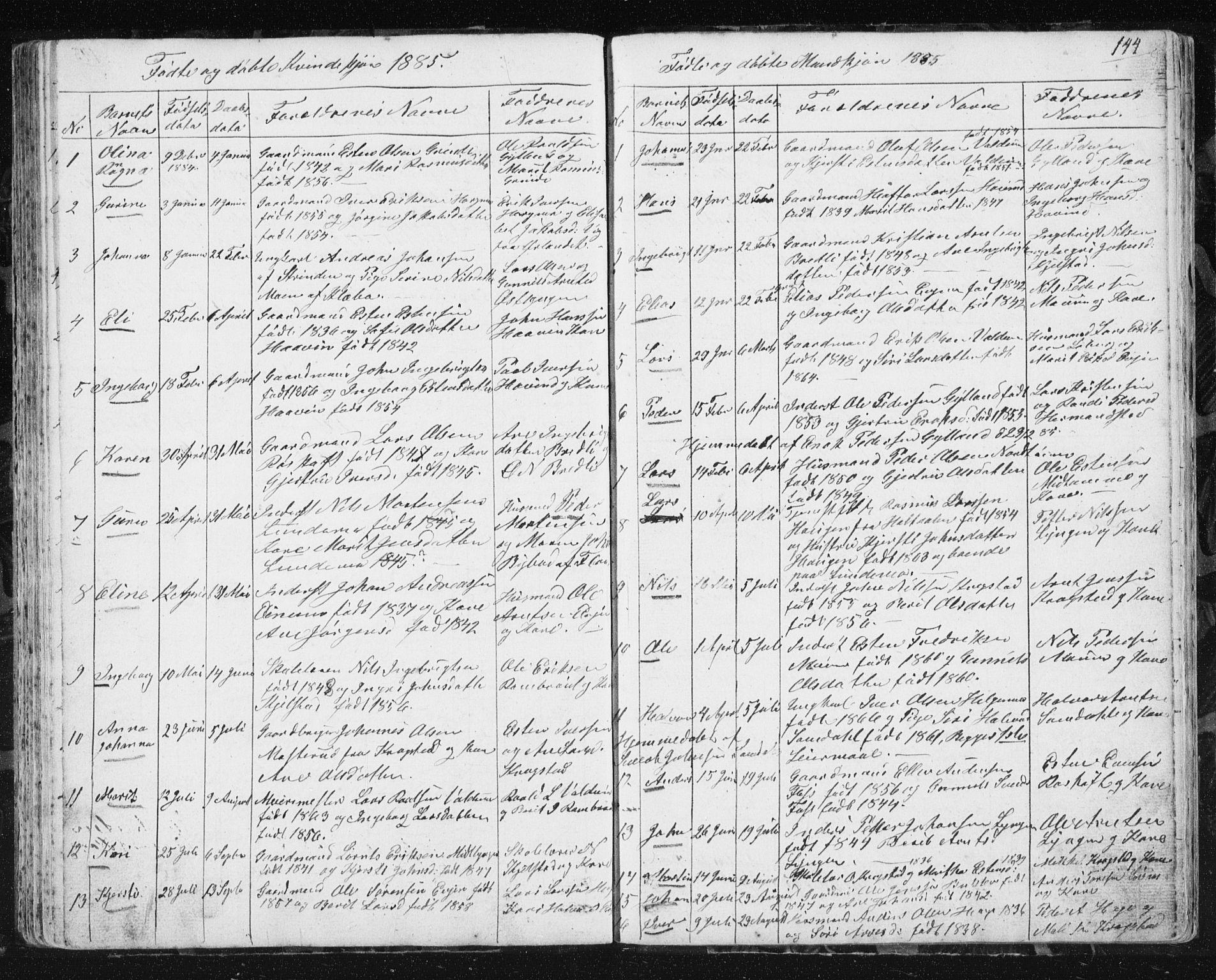 SAT, Ministerialprotokoller, klokkerbøker og fødselsregistre - Sør-Trøndelag, 692/L1110: Klokkerbok nr. 692C05, 1849-1889, s. 144