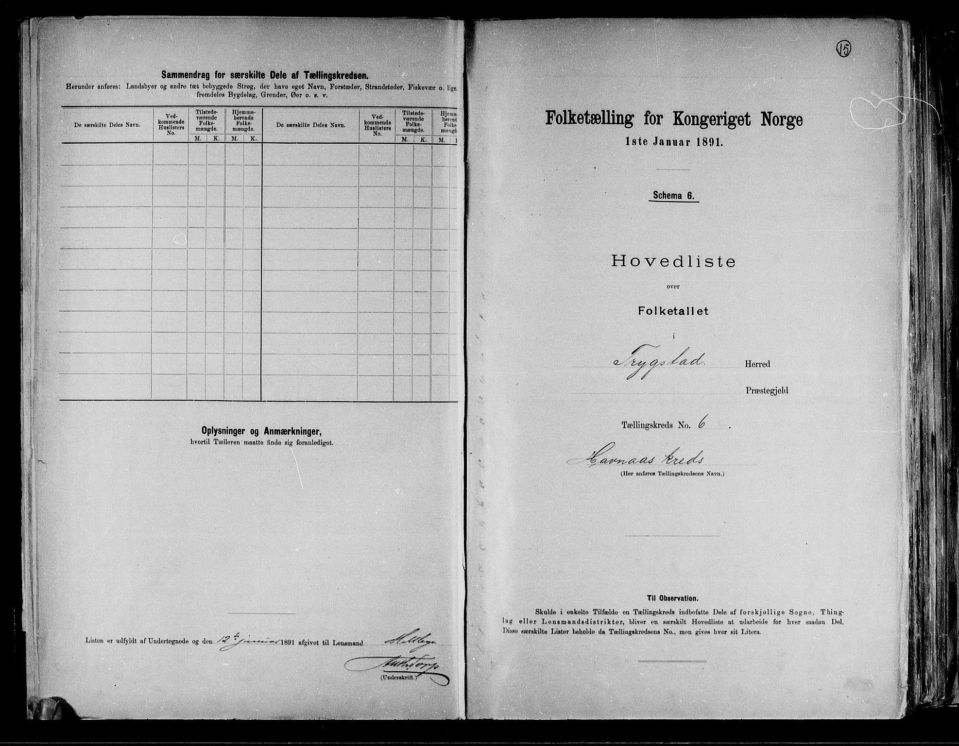 RA, Folketelling 1891 for 0122 Trøgstad herred, 1891, s. 15