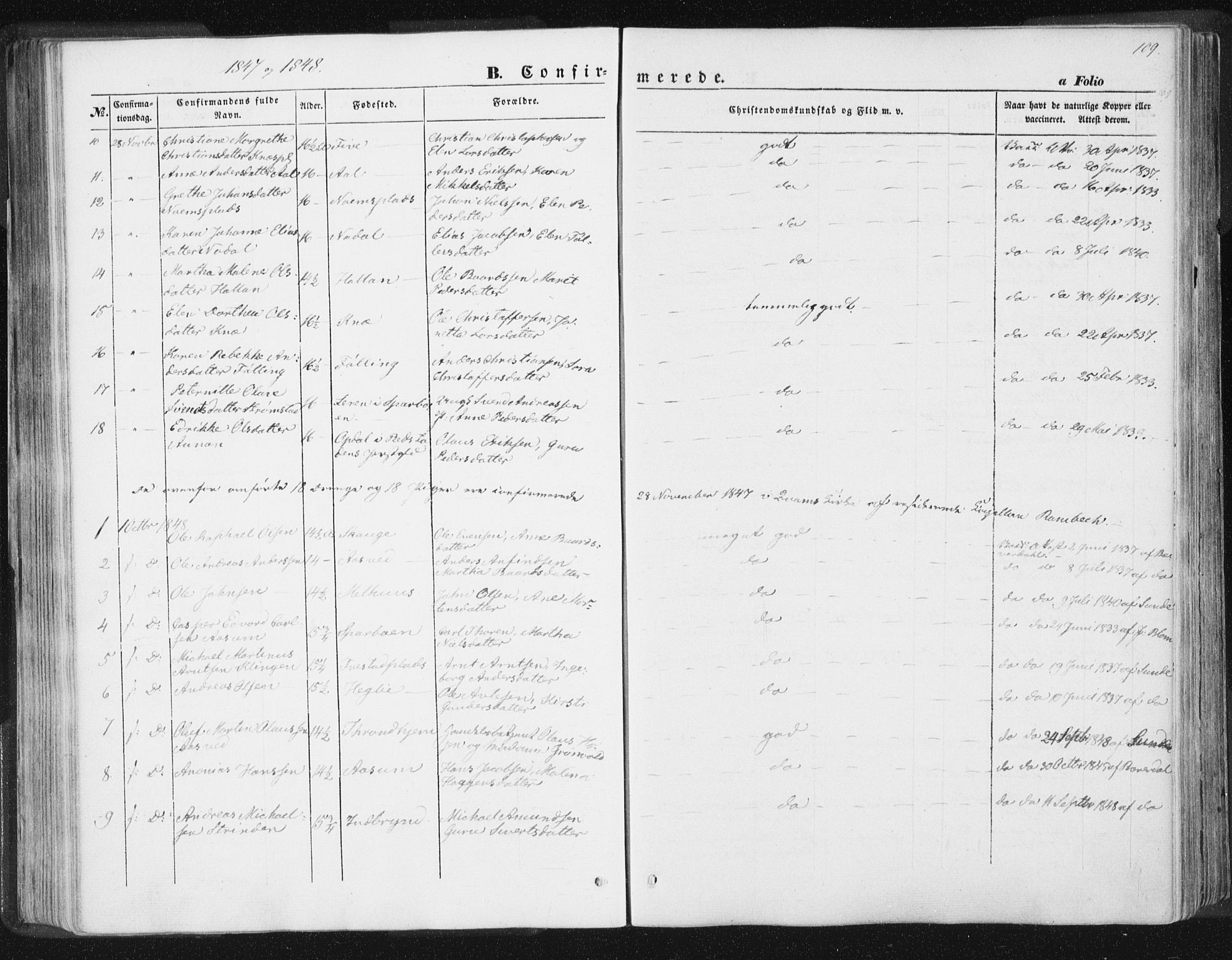 SAT, Ministerialprotokoller, klokkerbøker og fødselsregistre - Nord-Trøndelag, 746/L0446: Ministerialbok nr. 746A05, 1846-1859, s. 109