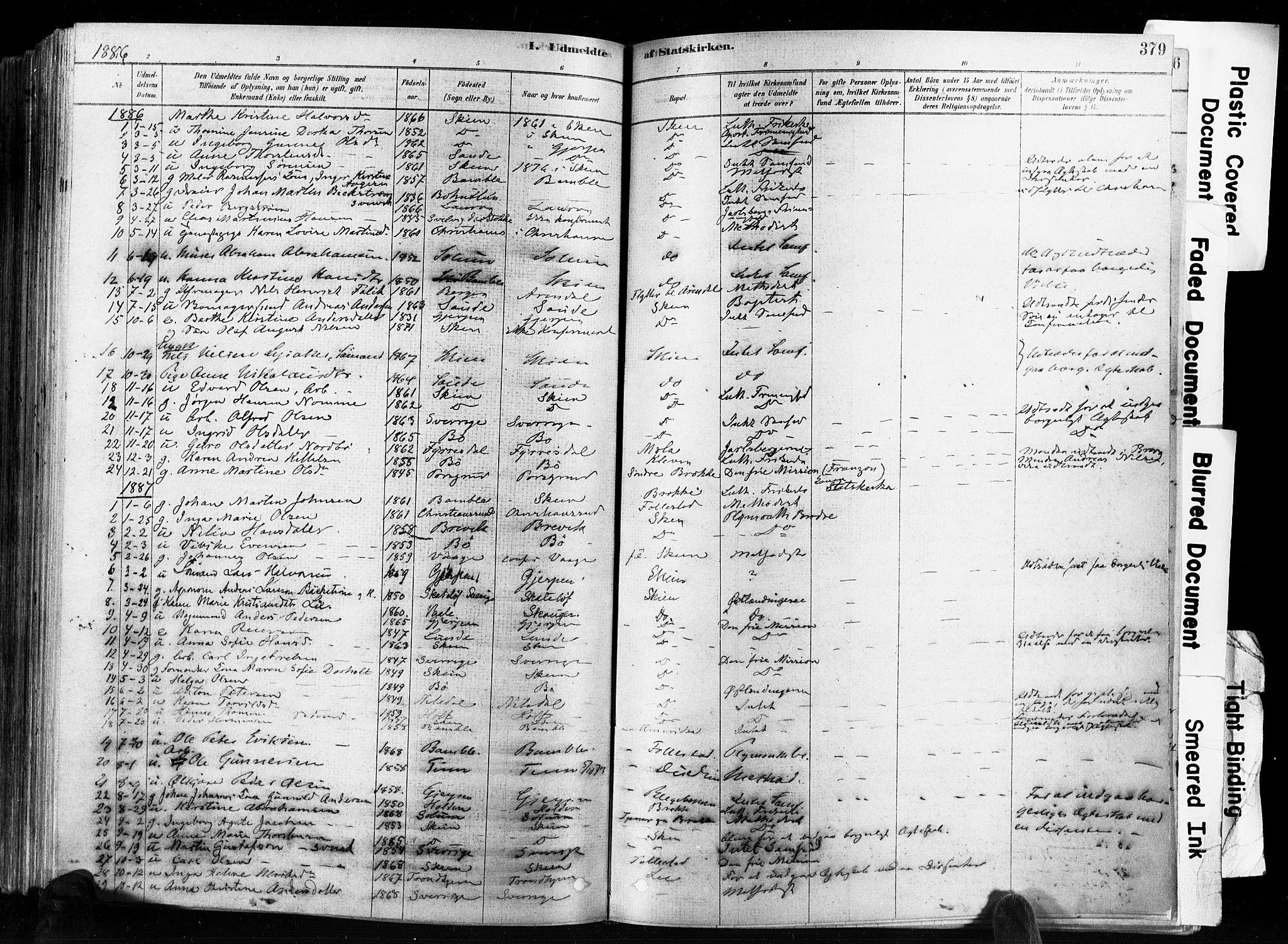 SAKO, Skien kirkebøker, F/Fa/L0009: Ministerialbok nr. 9, 1878-1890, s. 379