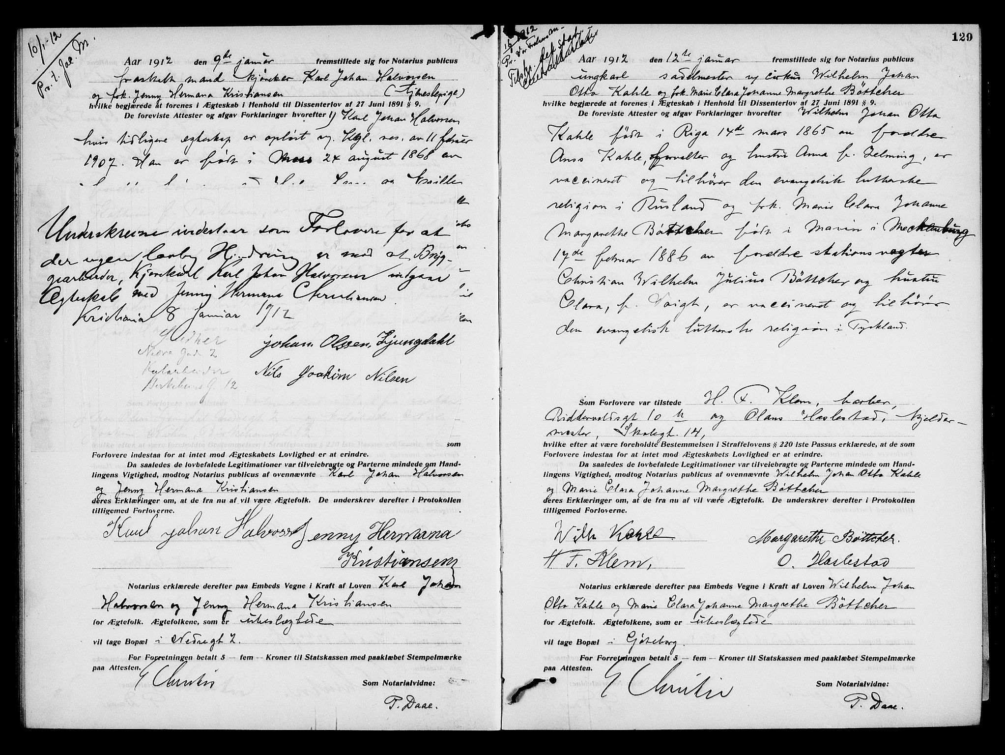 SAO, Oslo byfogd avd. I, L/Lb/Lbb/L0008: Notarialprotokoll, rekke II: Vigsler, 1911-1913, s. 128b-129a