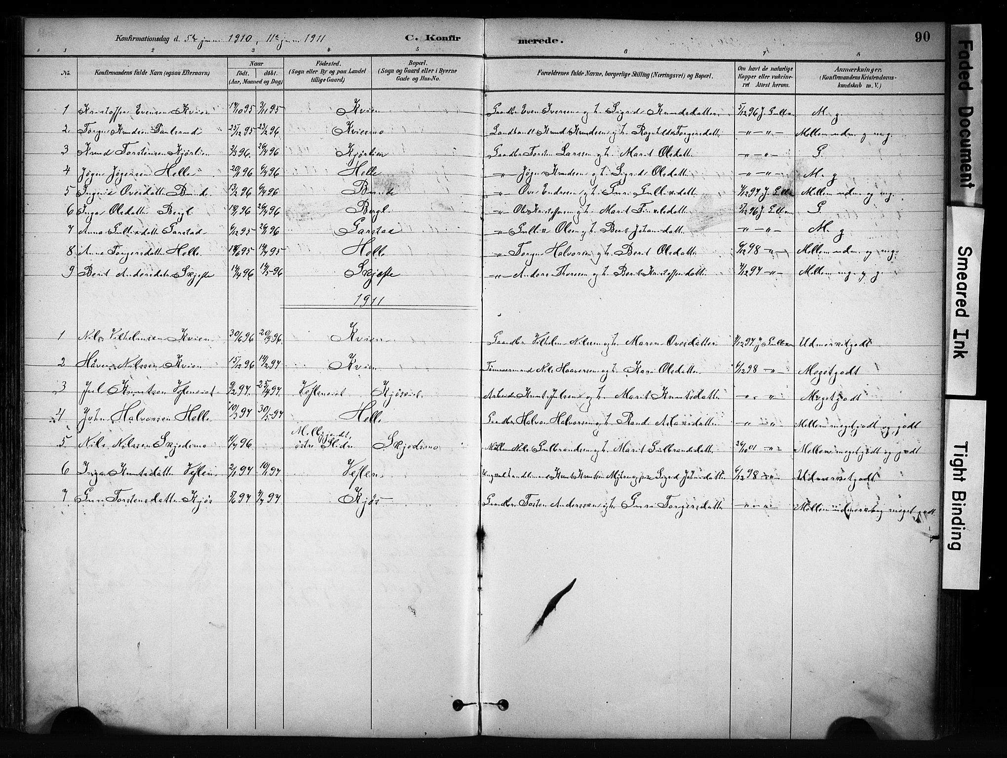 SAH, Vang prestekontor, Valdres, Ministerialbok nr. 9, 1882-1914, s. 90