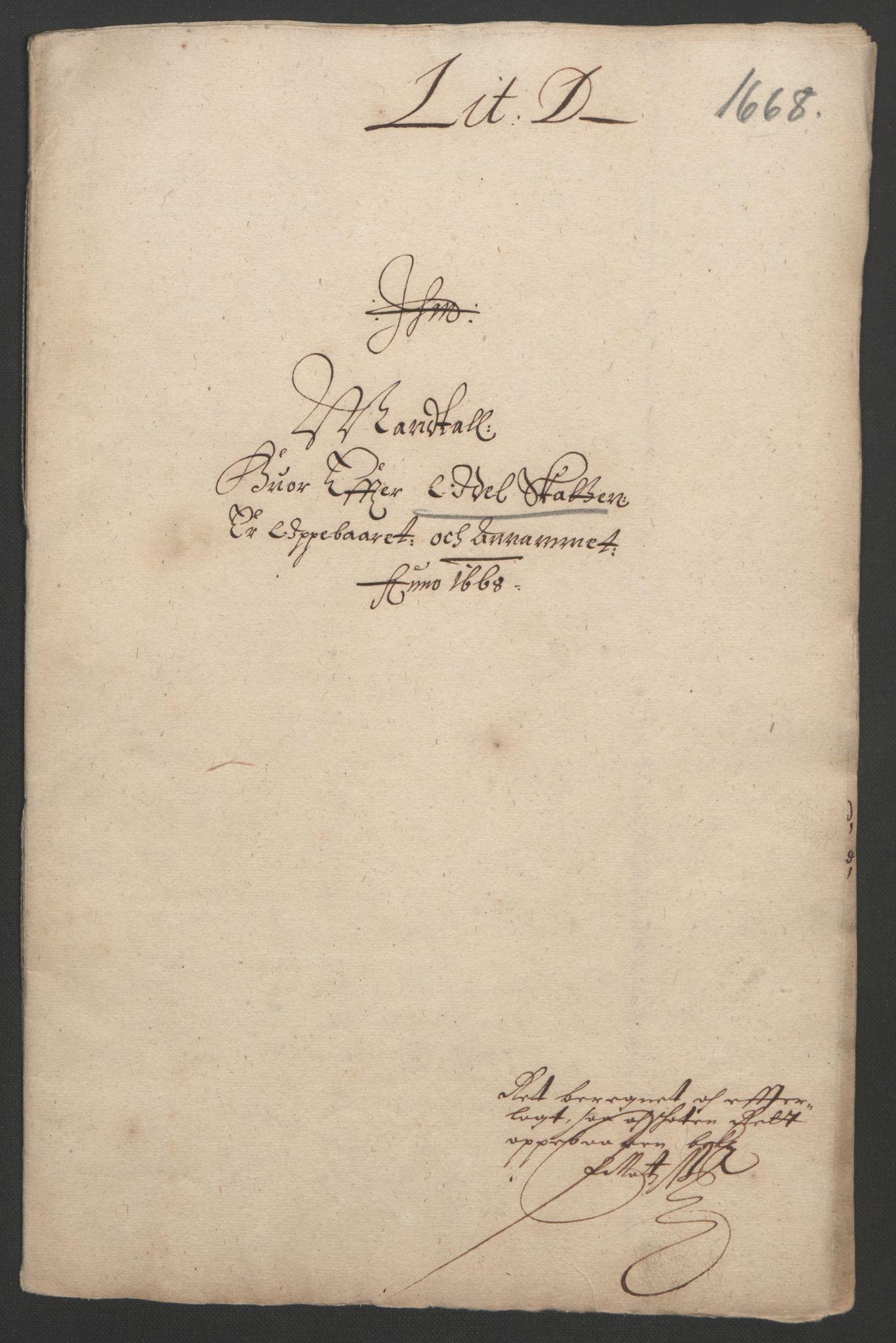 RA, Rentekammeret inntil 1814, Reviderte regnskaper, Fogderegnskap, R33/L1964: Fogderegnskap Larvik grevskap, 1665-1668, s. 183
