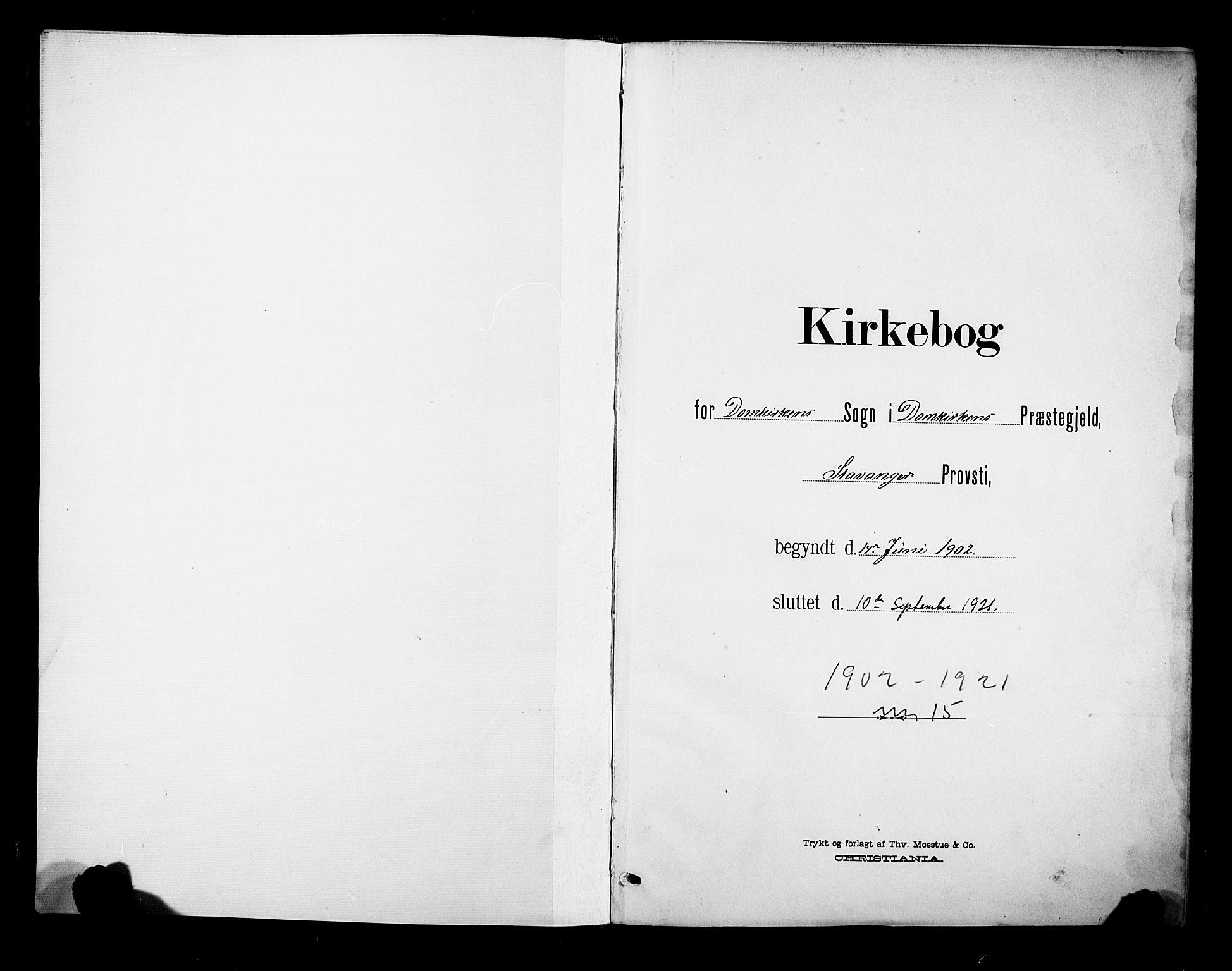 SAST, Domkirken sokneprestkontor, 30/30BB/L0017: Klokkerbok nr. B 17, 1902-1921